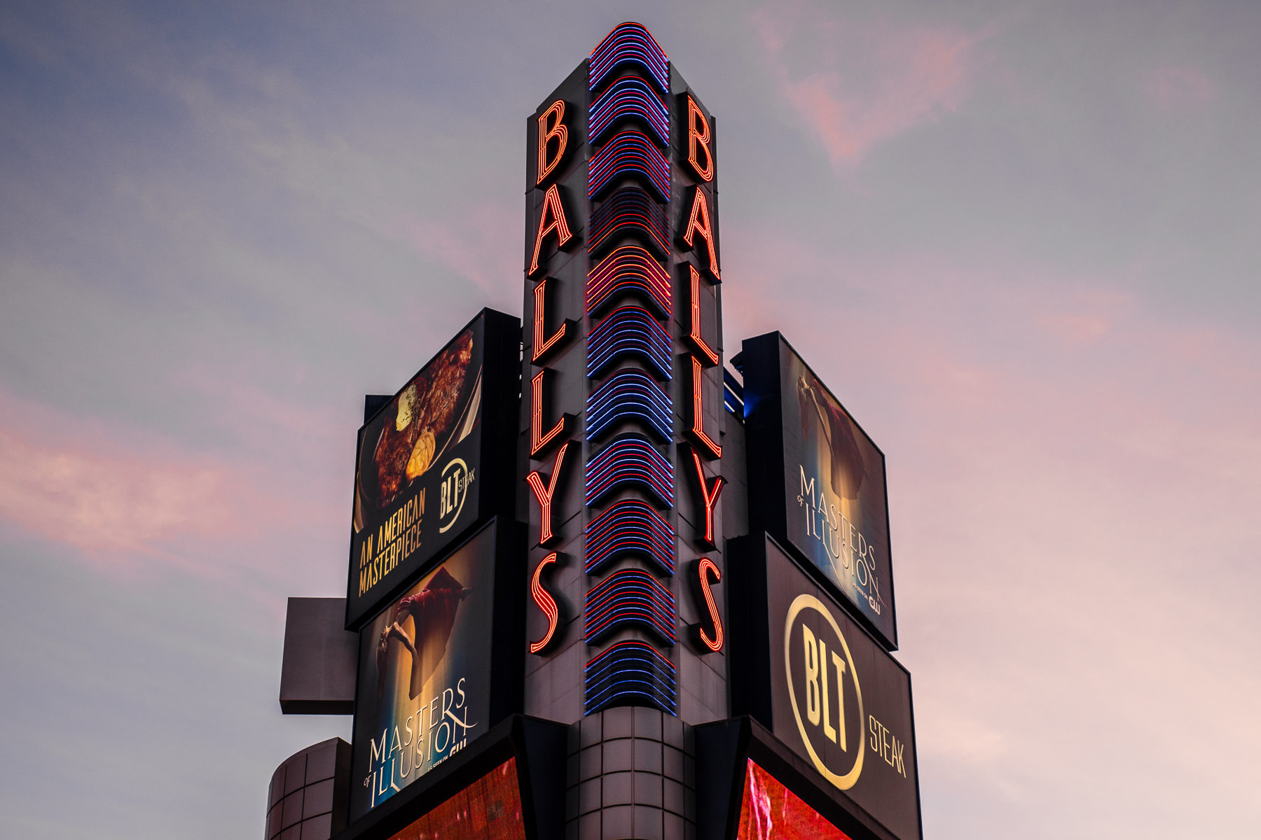 The sign at Ballys Las Vegas rises into the morning Nevada sky.