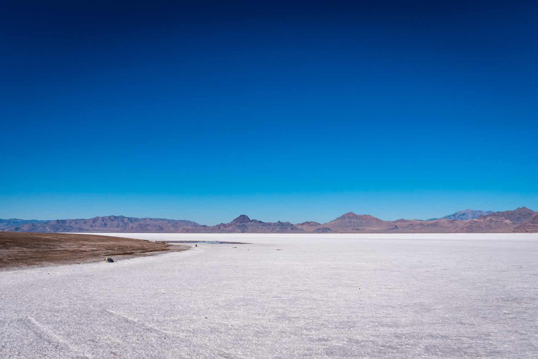 The expanse of Utah's Bonneville Salt Flats stretches into the distance.