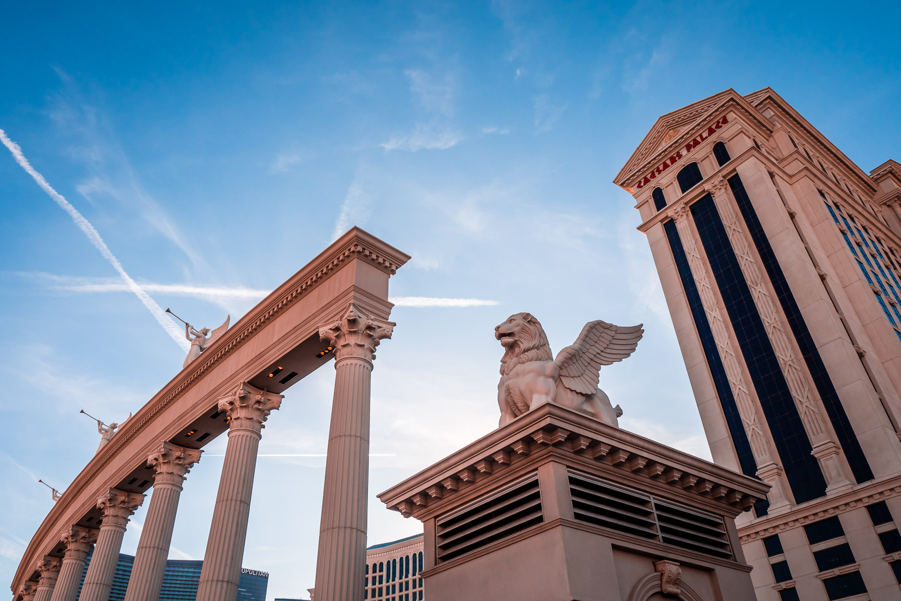 A statue of a winged lion seems to stand guard at the entrance to Las Vegas' Caesars Palace.