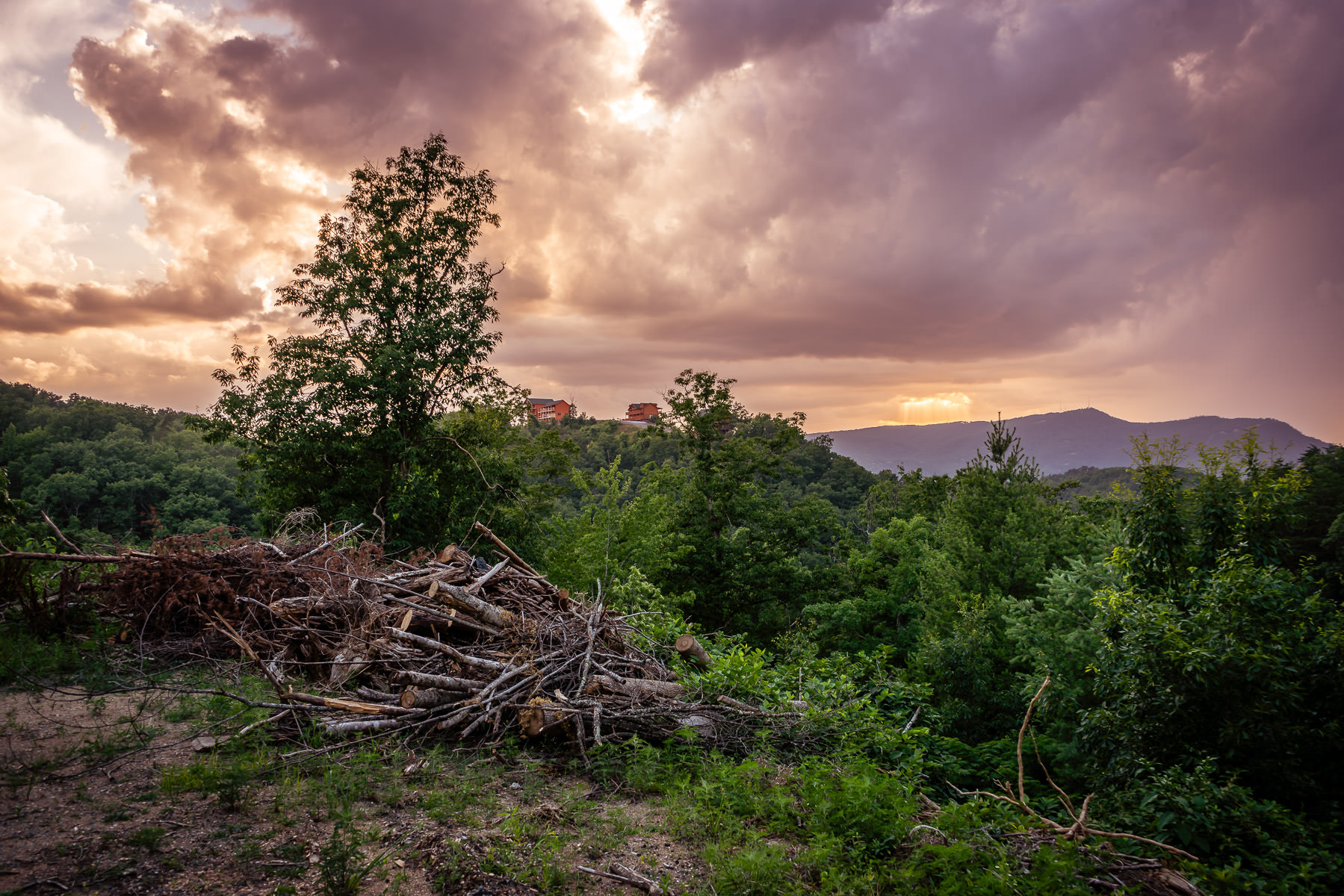 The sun sets on a mountaintop in the Great Smoky Mountains near Pigeon Forge, Tennessee.