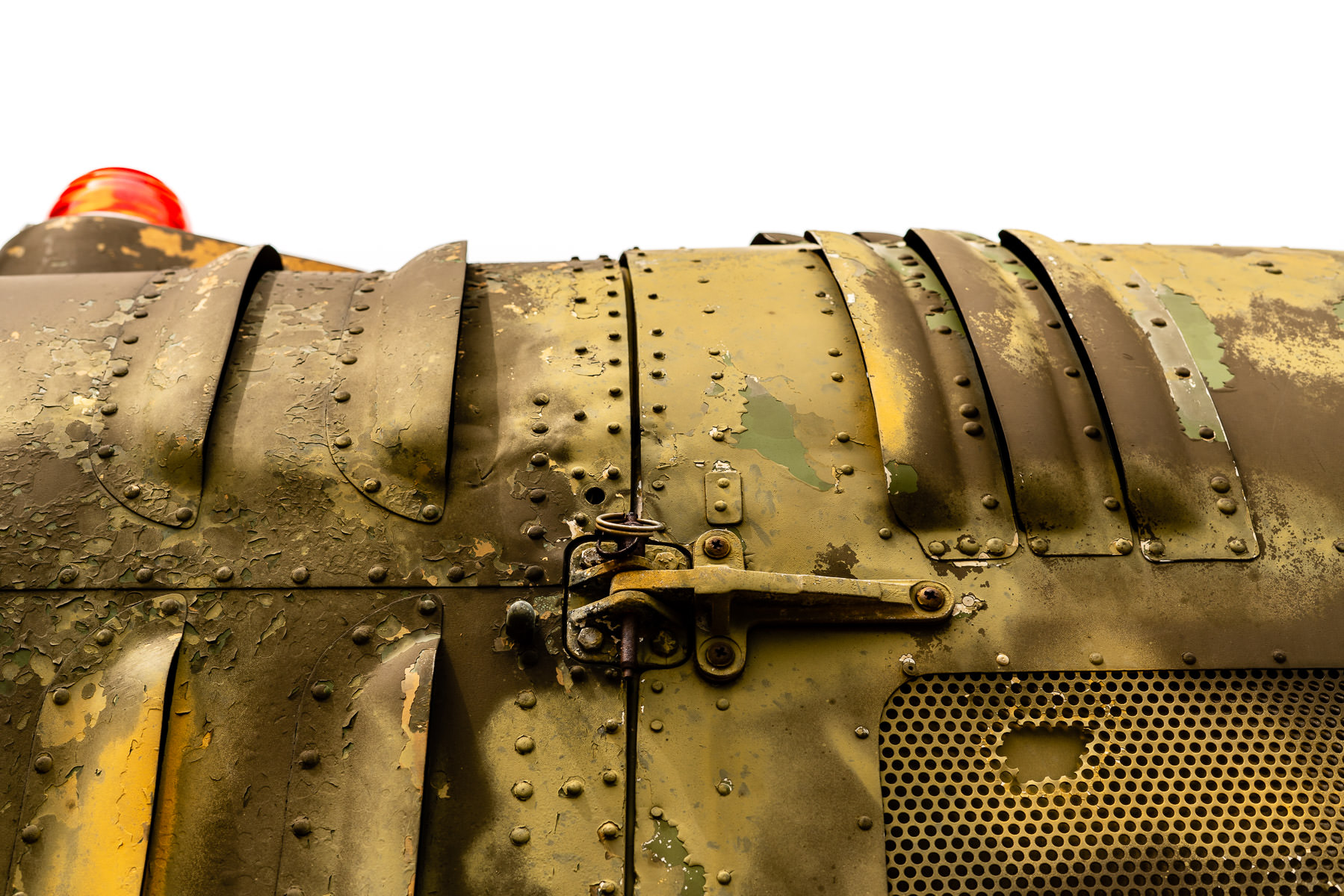 "Detail of a latch on a Bell UH-1 Iroquois (aka a ""Huey"") on display at the Cavanaugh Flight Museum, Addison, Texas."