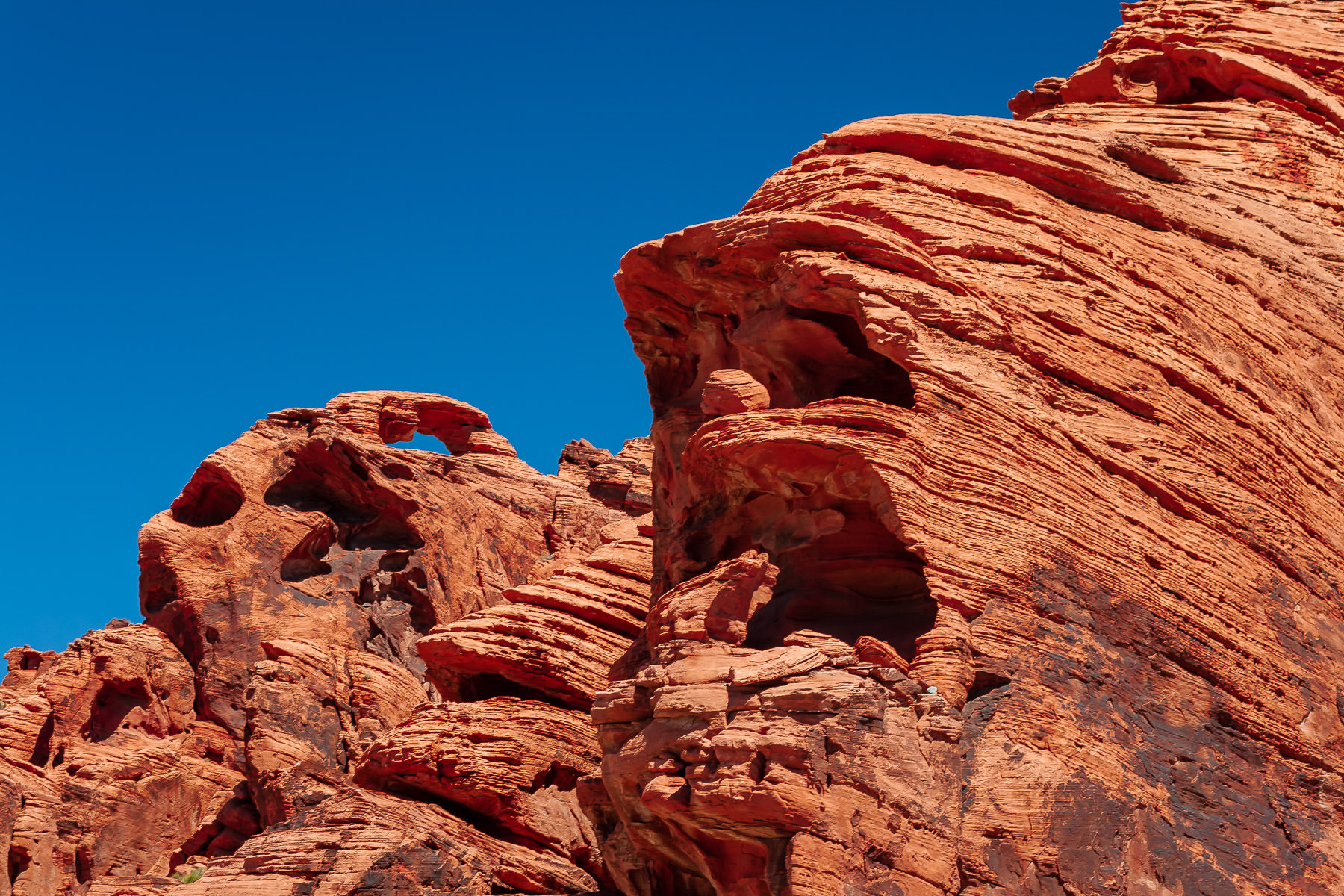 Curious rock formations eroded away by time at Nevada's Valley of Fire State Park.