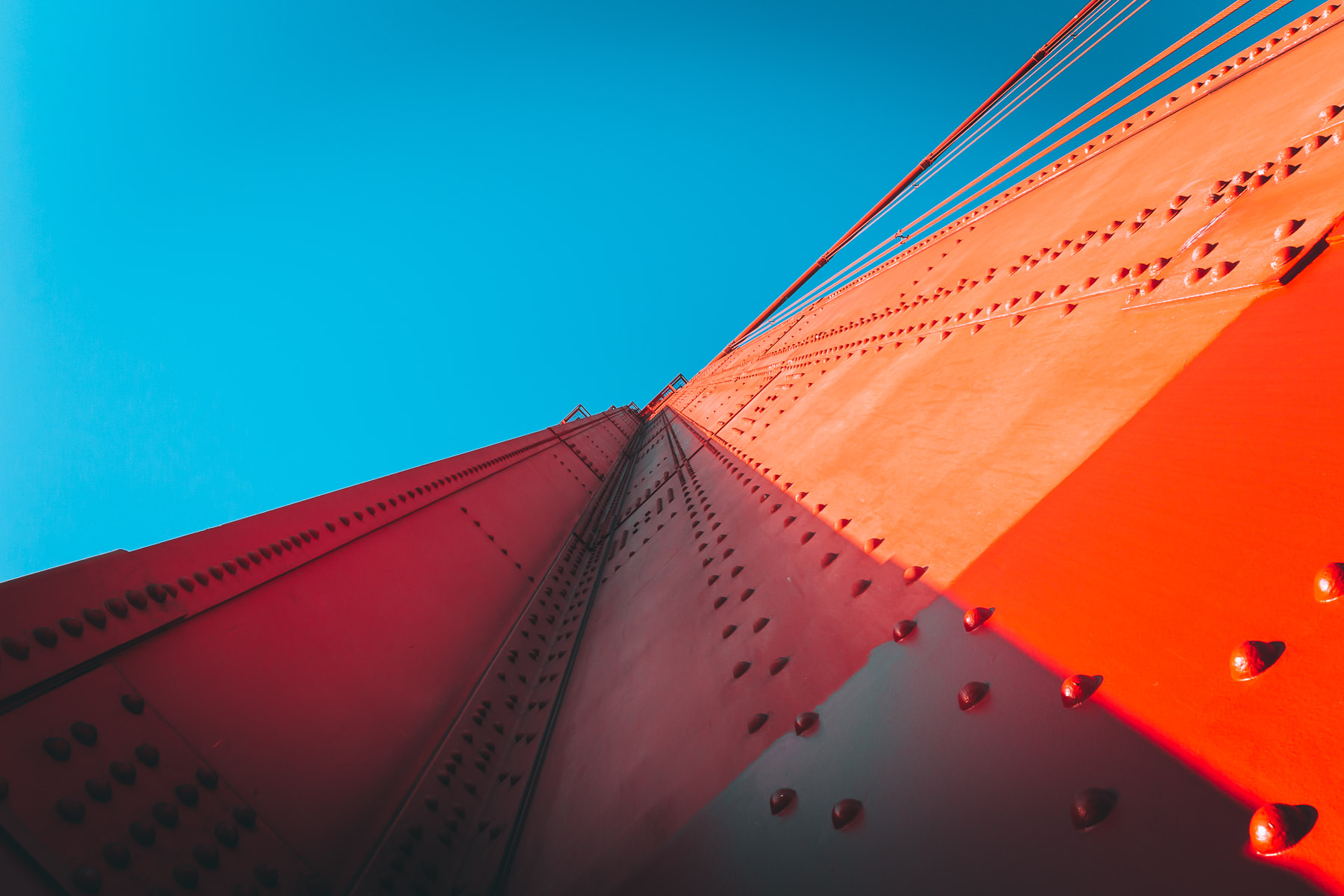 The South tower of San Francisco's Golden Gate Bridge reaches 746 feet into the cloudless sky of the Bay Area.