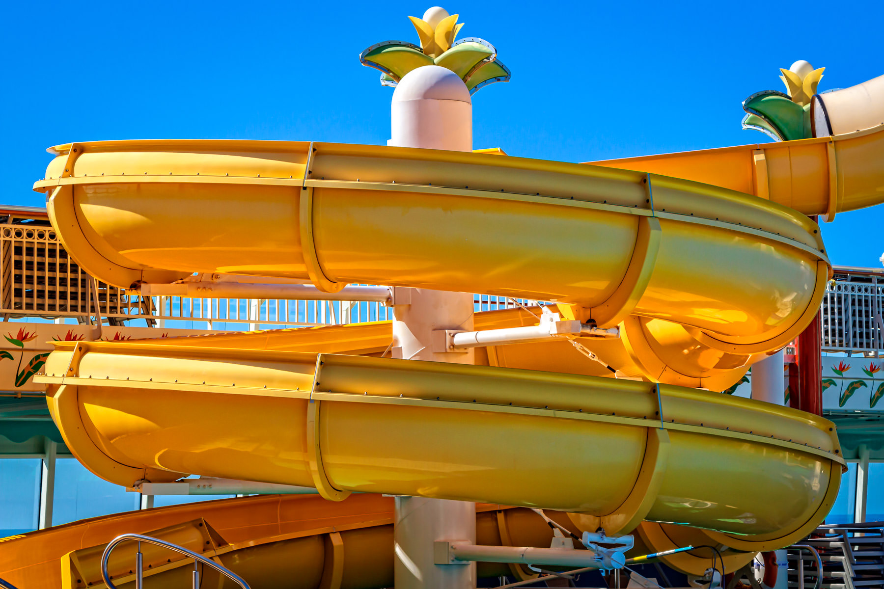 One of the waterslides aboard the cruise shipNorwegian Pearl.