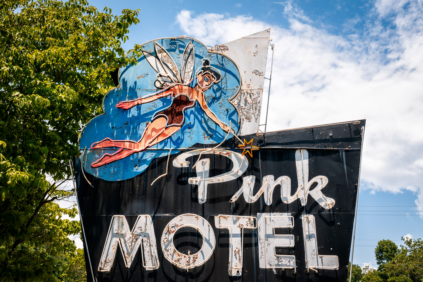 The aged sign of the Pink Motel in Cherokee, North Carolina.