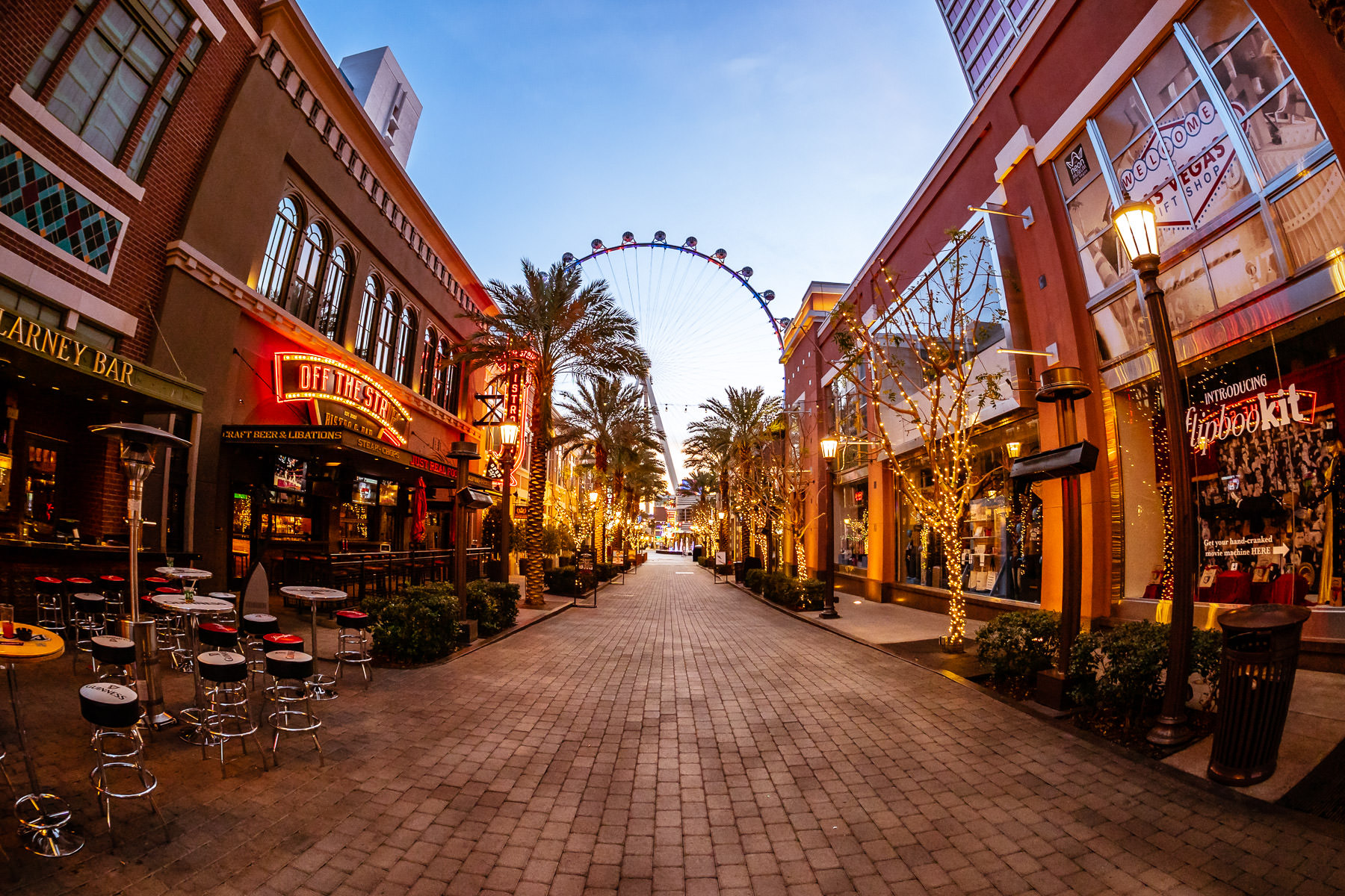 The Linq Promenade leads towards the High Roller observation wheel on an early Las Vegas morning.