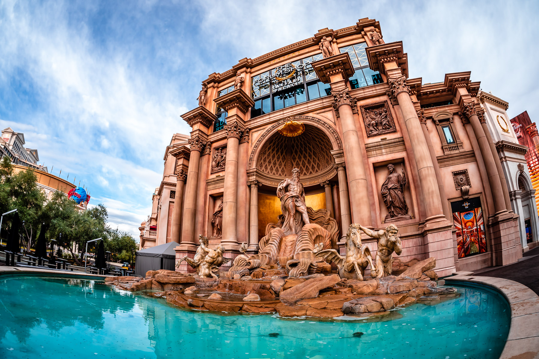 The replica Trevi Fountain at the Forum Shops at Caesars Palace, Las Vegas.