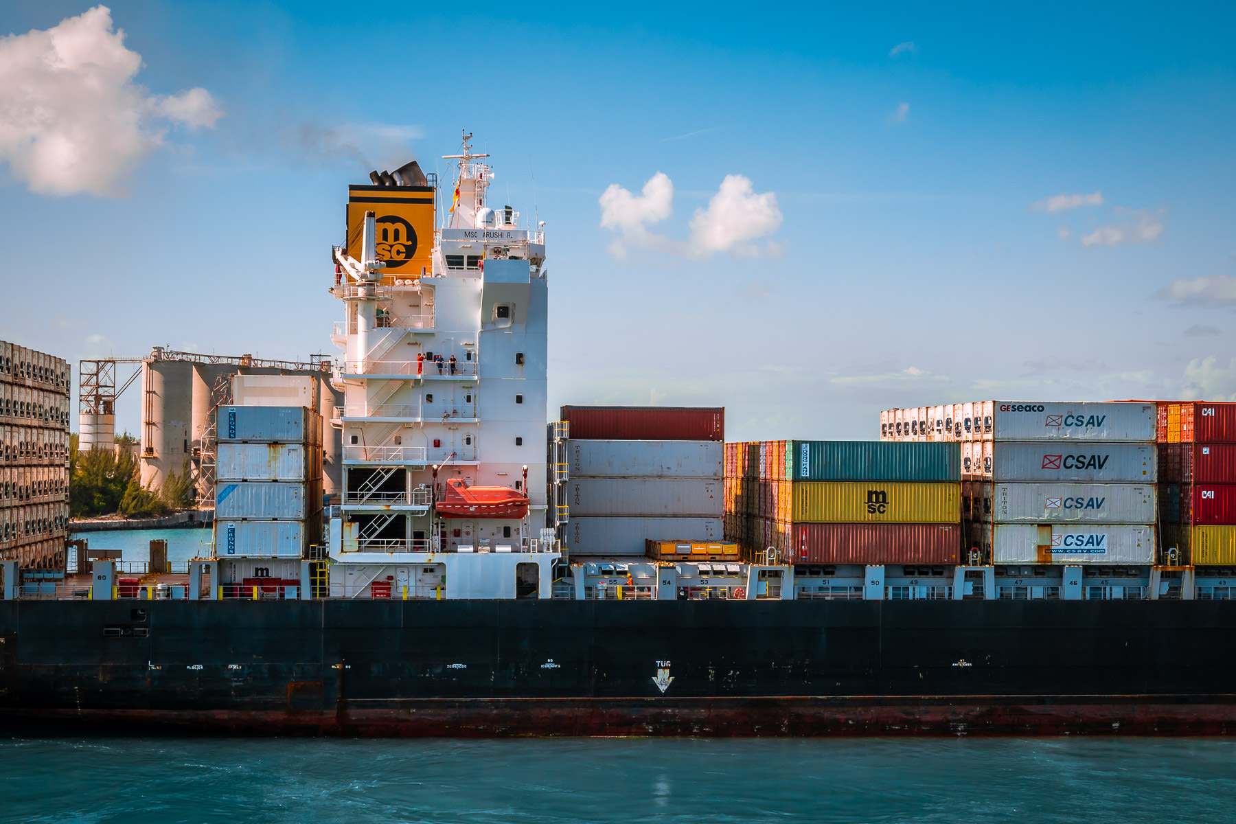 The container shipMSC Arushi R.sails into Freeport, Bahamas.