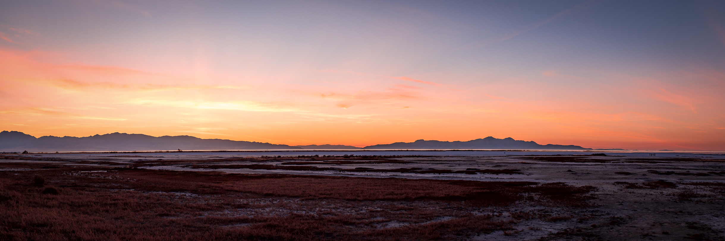 The sun sets on the southern shore of Utah's Great Salt Lake.