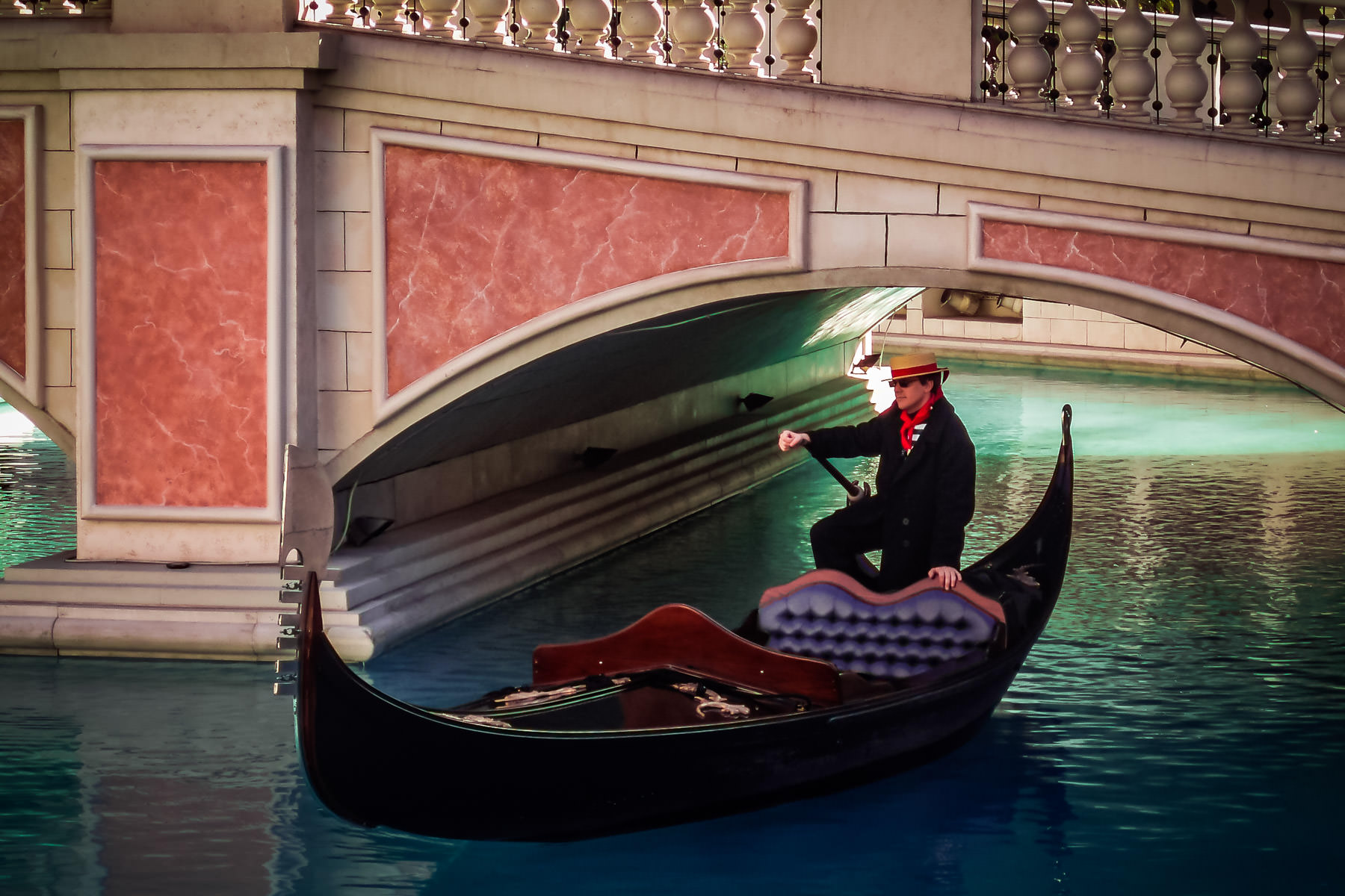 A gondolier in his gondola at The Venetian in Las Vegas.