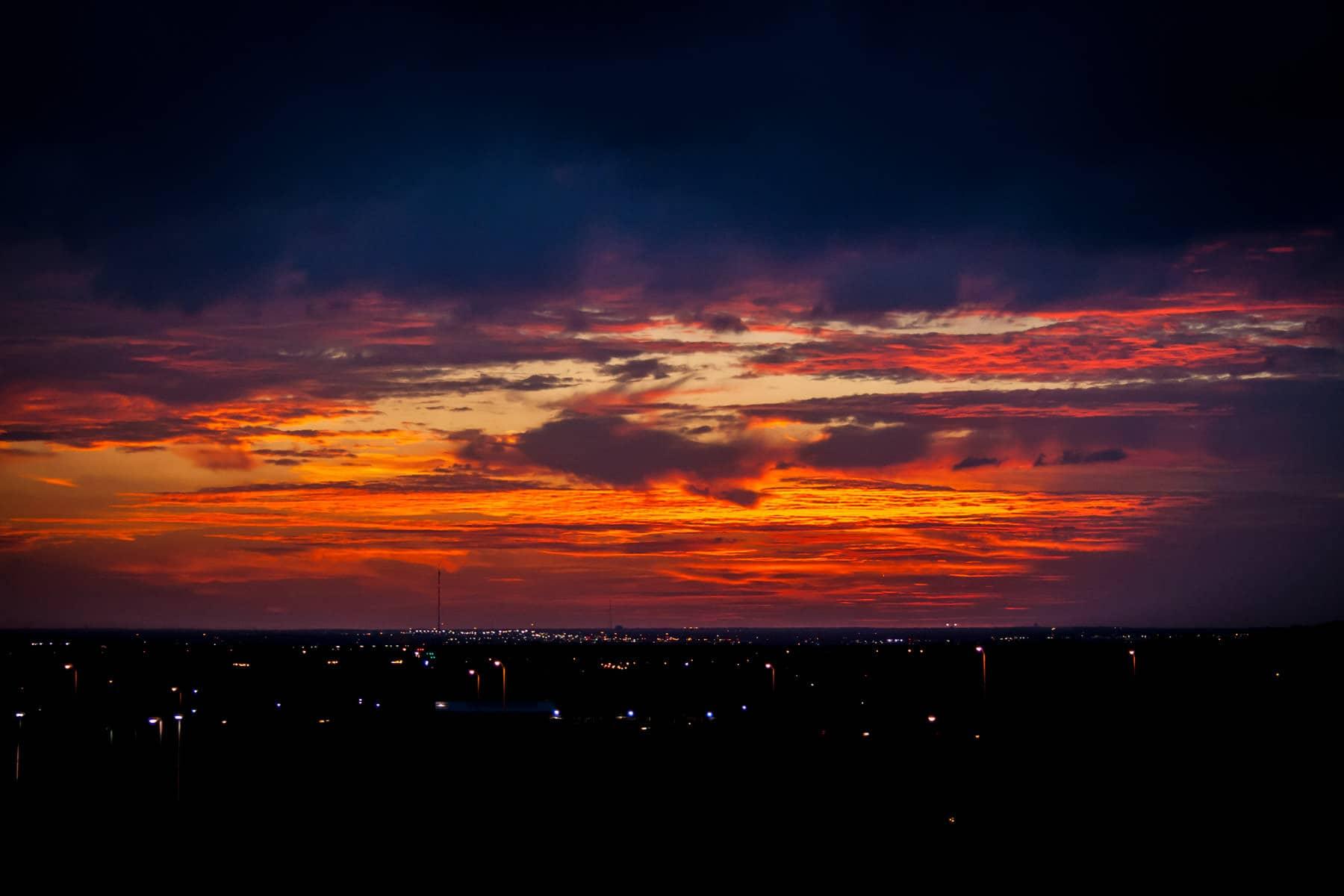 The sun setting over Dallas County, Texas.