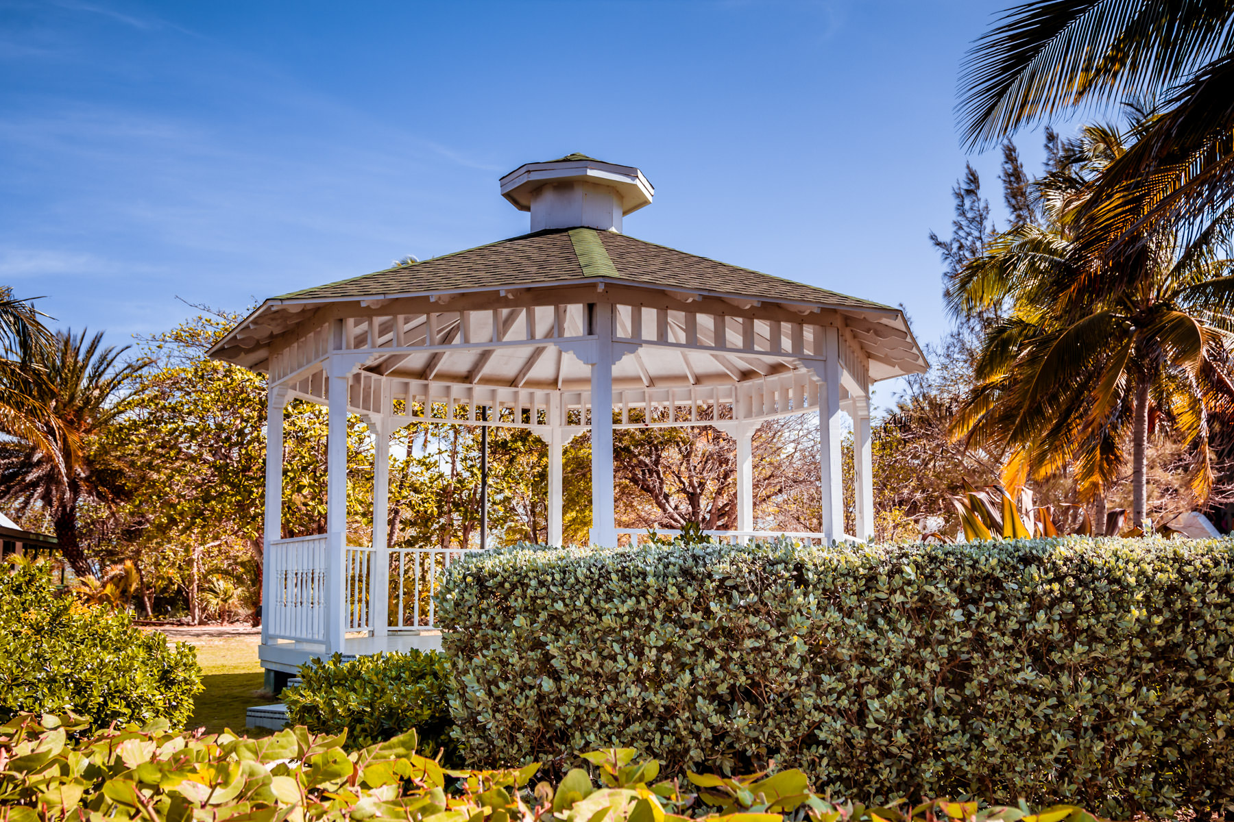 A gazebo in the gardens of the Pedro St. James National Historic Site—home of the oldest building in the Cayman Islands—in George Town, Grand Cayman.