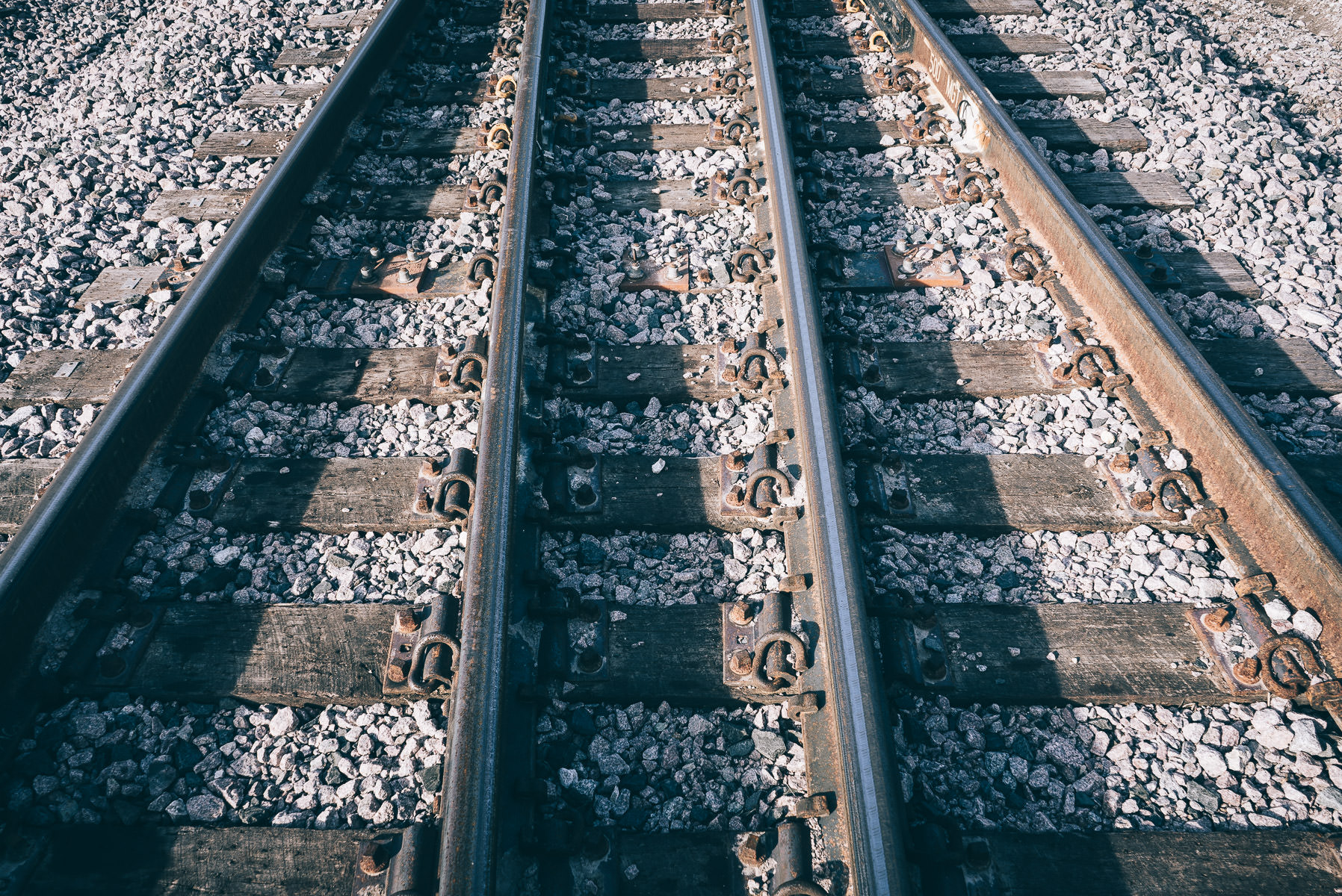 Railroad tracks begin to converge on a siding in Grapevine, Texas.