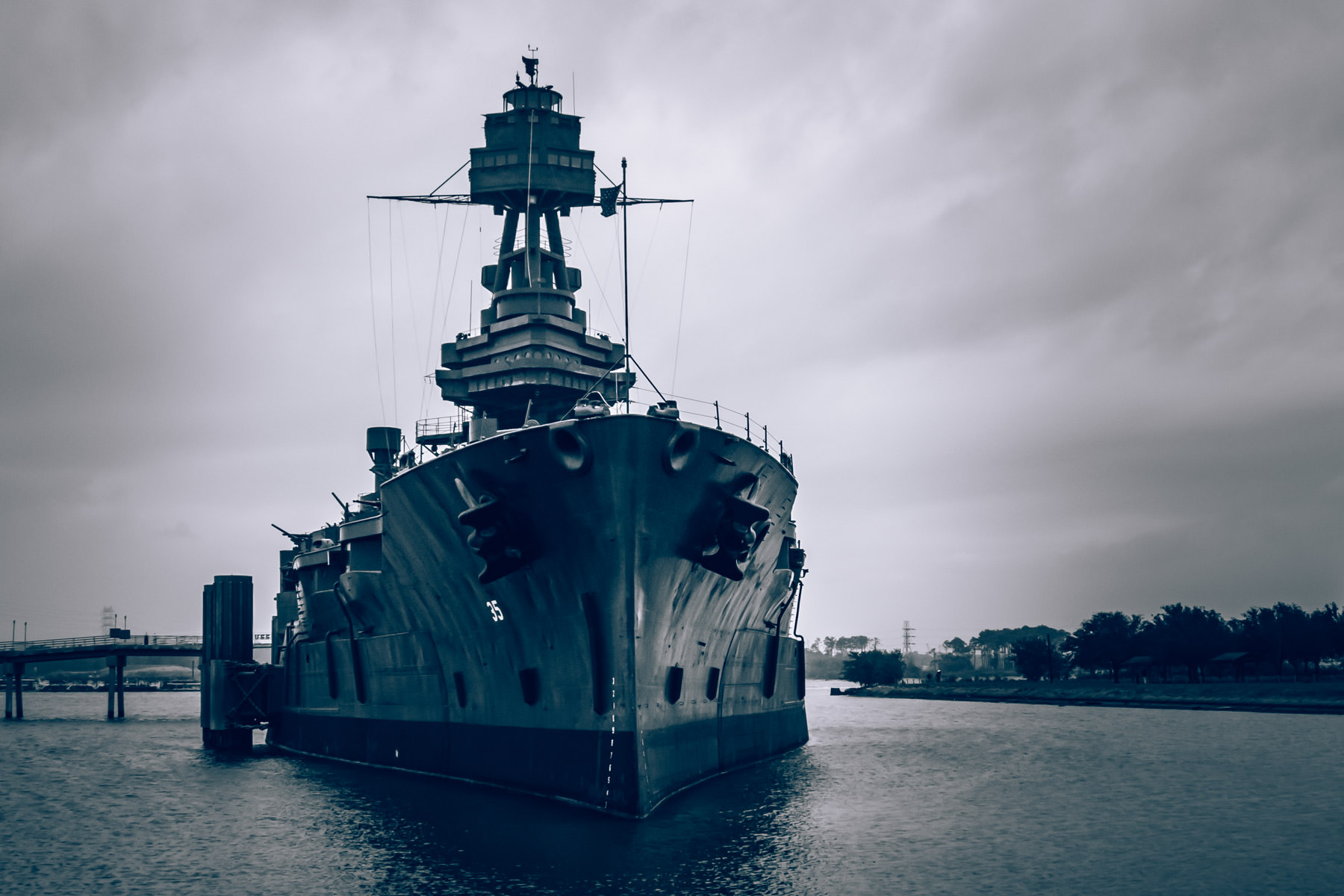 The USS Texas, commissioned in 1914, saw action in both World Wars, including D-Day and at Iwo Jima and is the only extant World War I-era dreadnoughts. Since1948, she has beenpermanently moored adjacent to the Houston Ship Channel near the San Jacinto Monument to act as a museum ship.