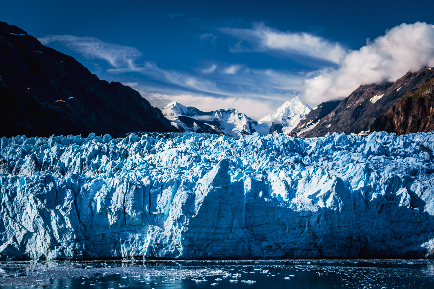 Alaska's Margerie Glacier rises from the icy waters of Glacier Bay.