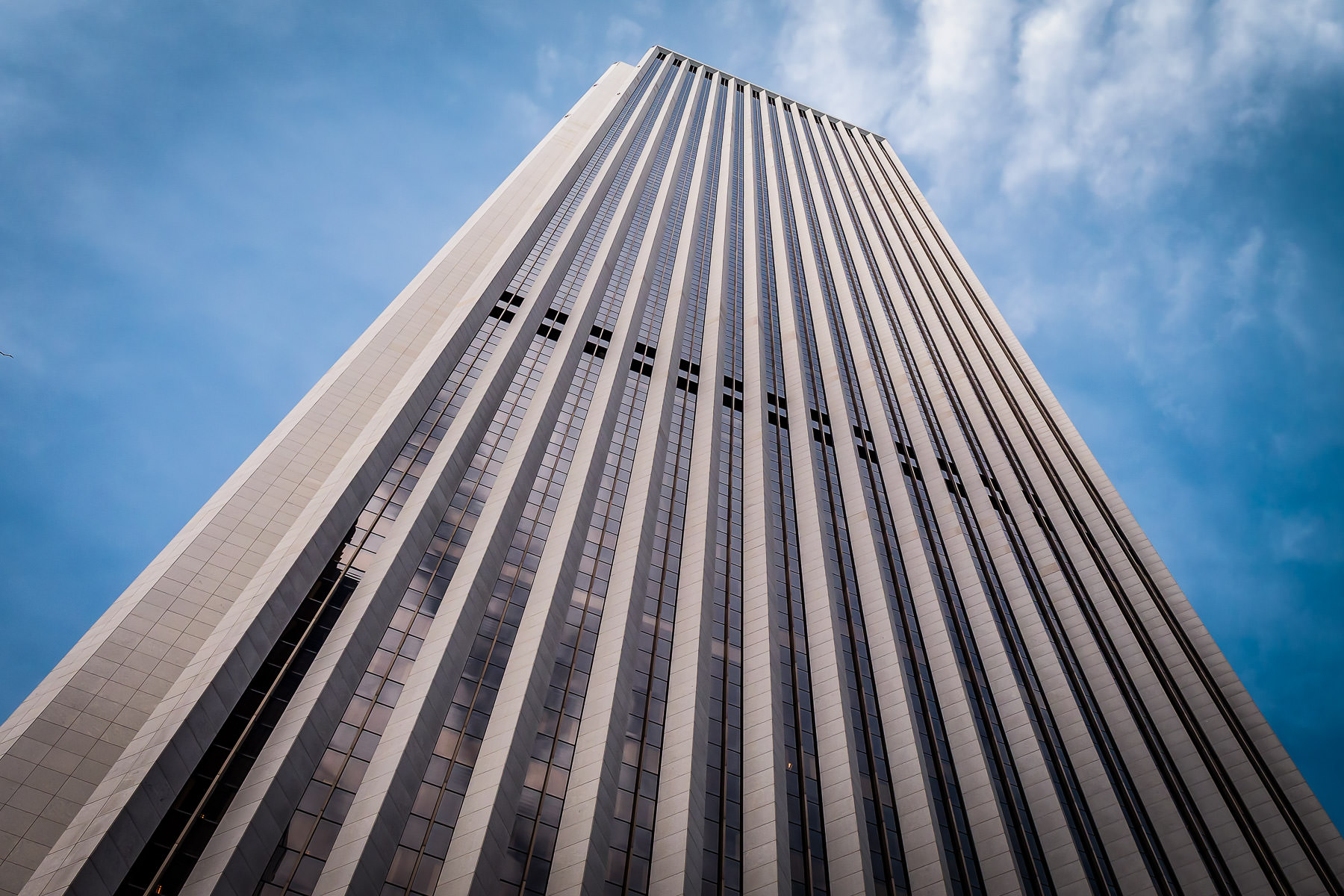 The 346-meter-tall (1,136 feet) Aon Center reaches into the sky over Chicago.
