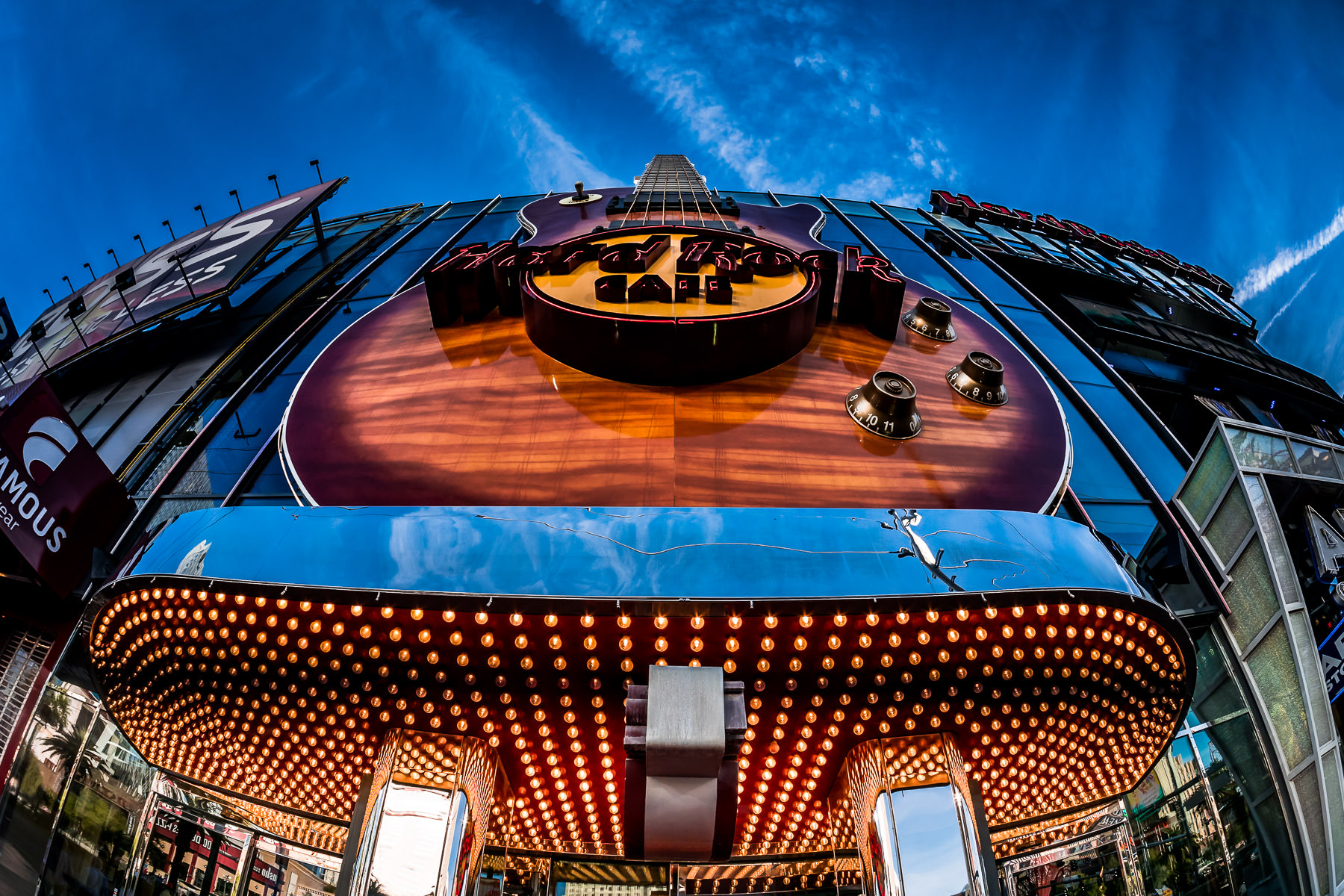 The guitar-shaped sign of the Hard Rock Cafe on the Las Vegas Strip.