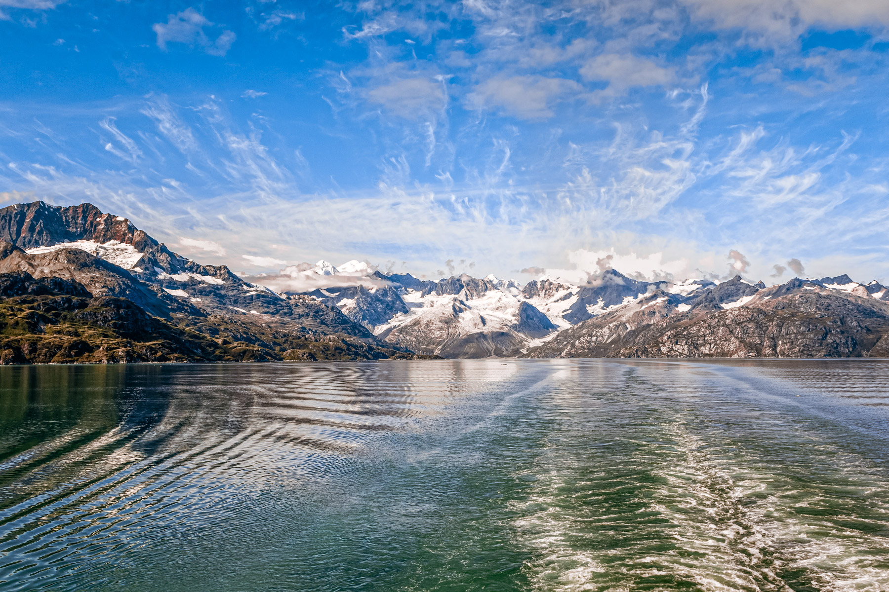 Mountains along the shore of Alaska's Glacier Bay.