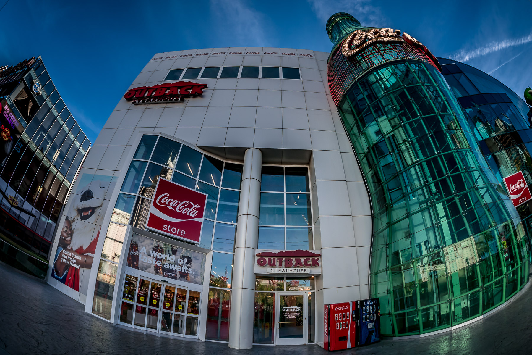 The Coca-Cola Store and Outback Steakhouse on the Las Vegas Strip.