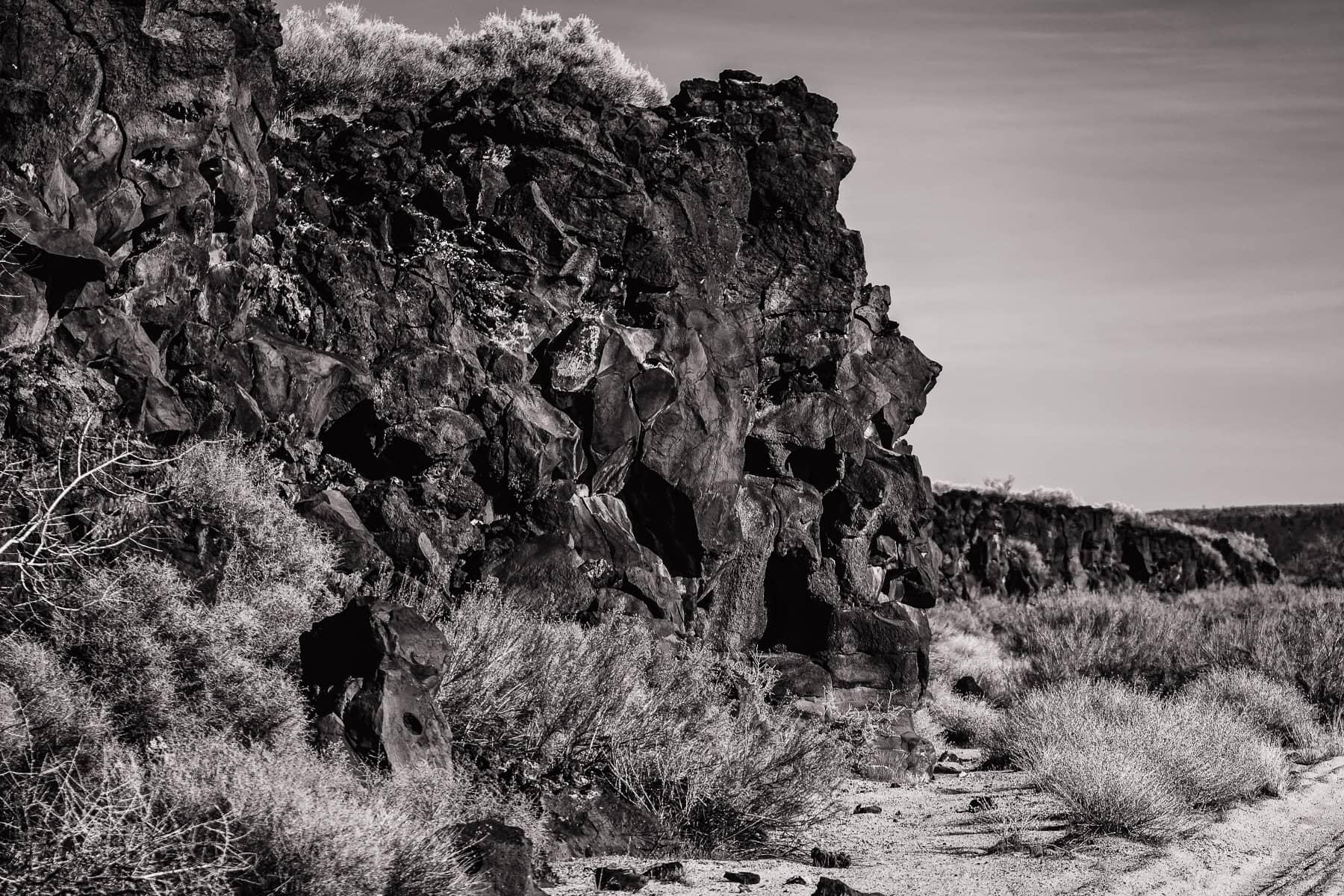 Prehistoric basalt flows at California's Mojave National Preserve.