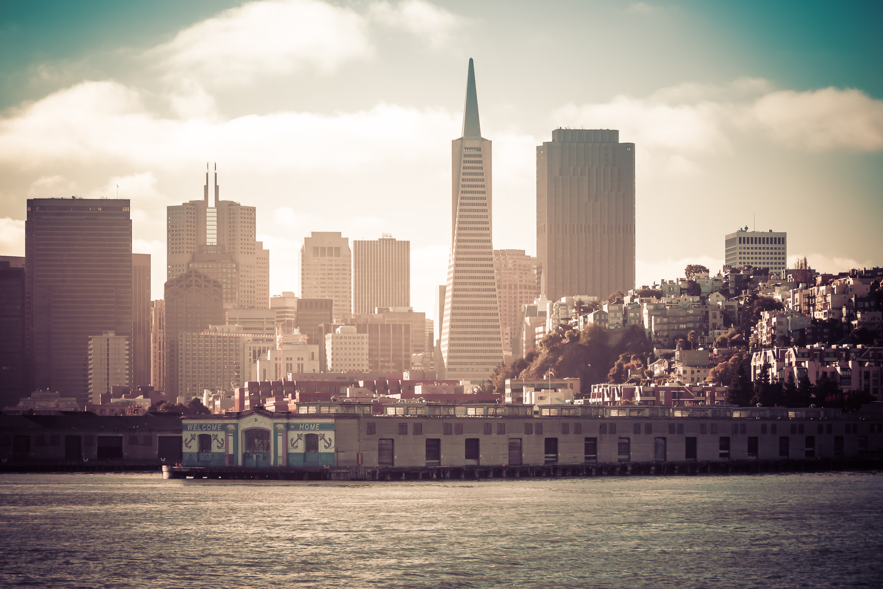 The day starts in San Francisco as the sun rises on the city.
