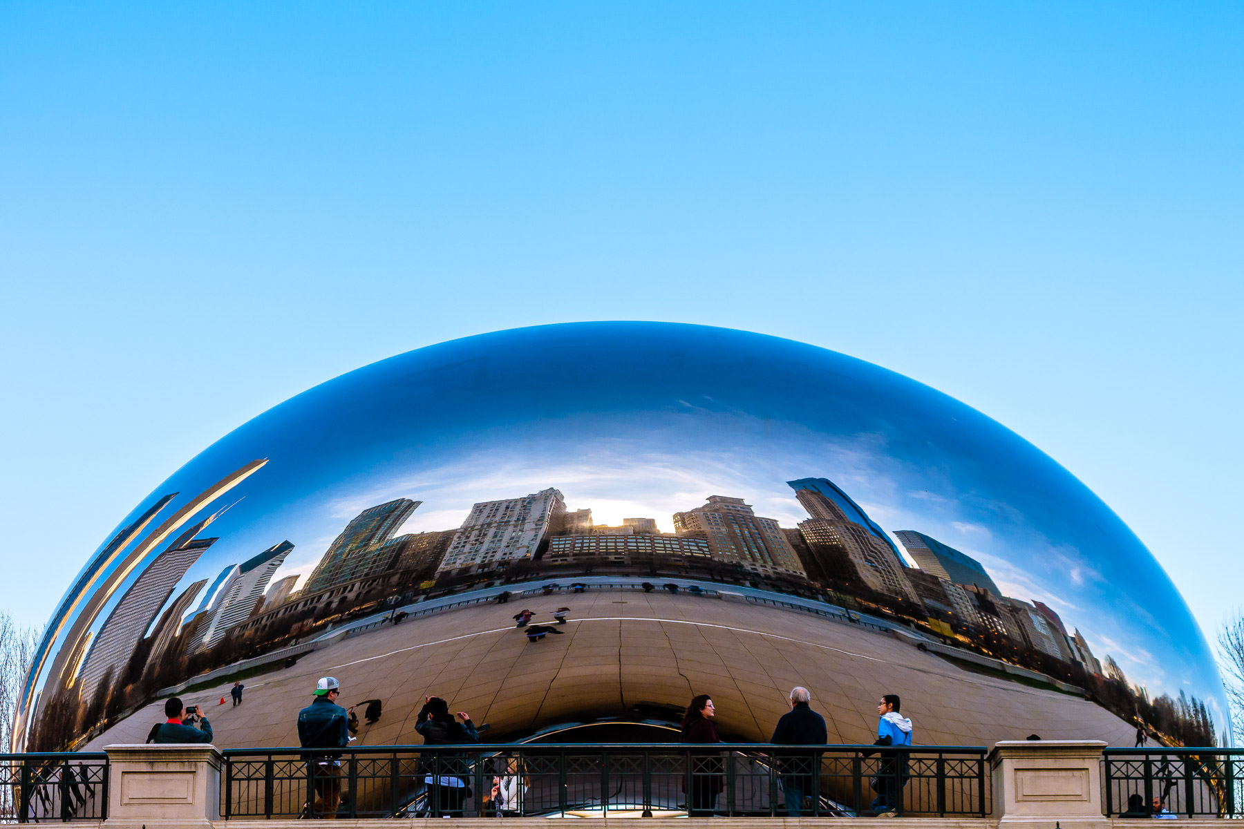 "Anish Kapoor's Cloud Gate, colloquially known as ""The Bean"", bends and reflects the city's skyline at Millennium Park, Chicago."