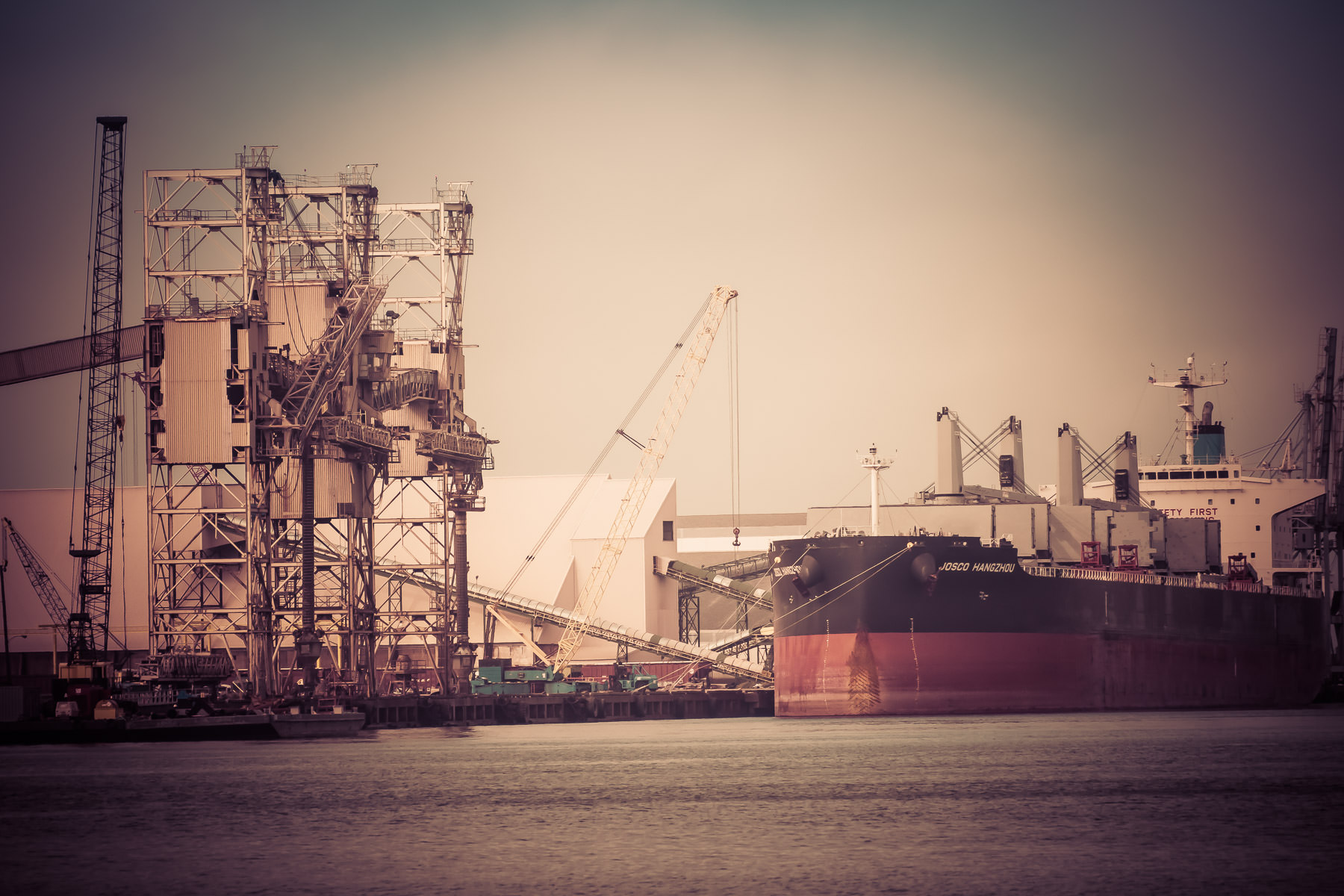The bulk carrier Josco Hangzhou, docked in Galveston, Texas.