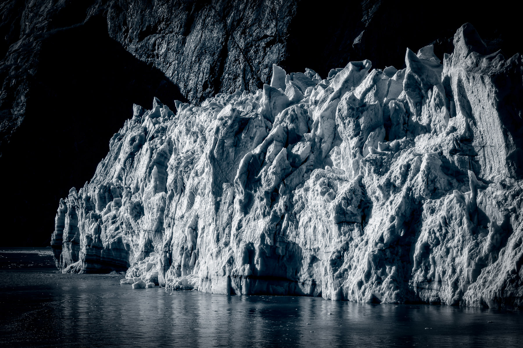 Detail of a jagged glacier spotted in Alaska's Glacier Bay National Park.