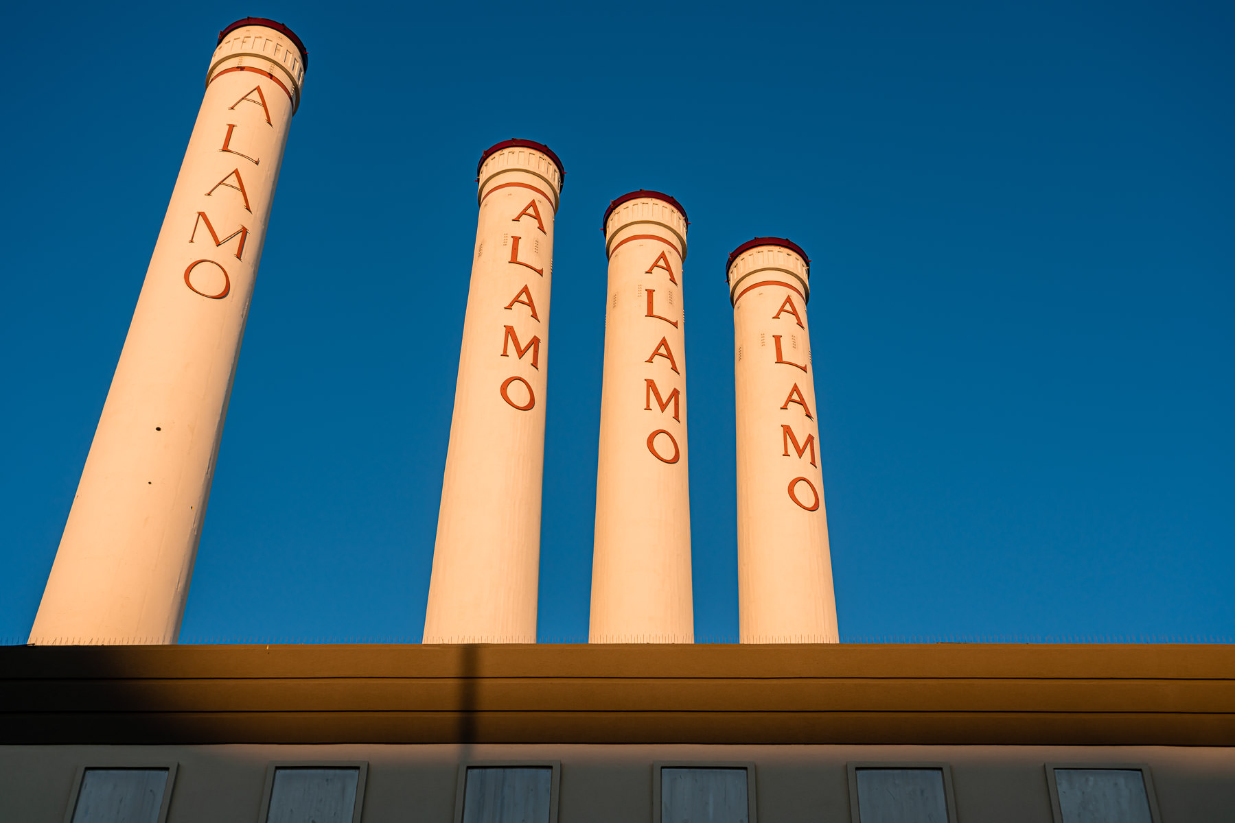 The four 204-foot-tall smokestacks at San Antonio, Texas' Alamo Quarry Market, a former cement factory-turned-shopping center.