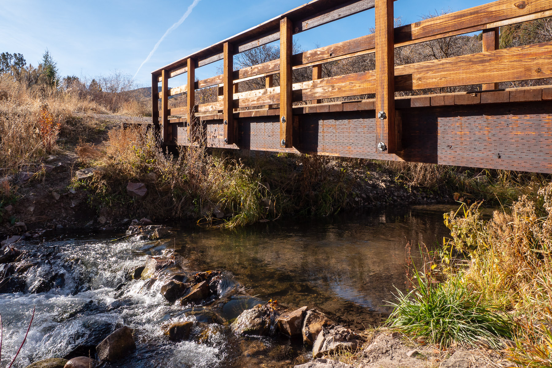 A pedestrian bridge crosses a small stream at Cherry Springs Nature Area near Pocatello, Idaho.