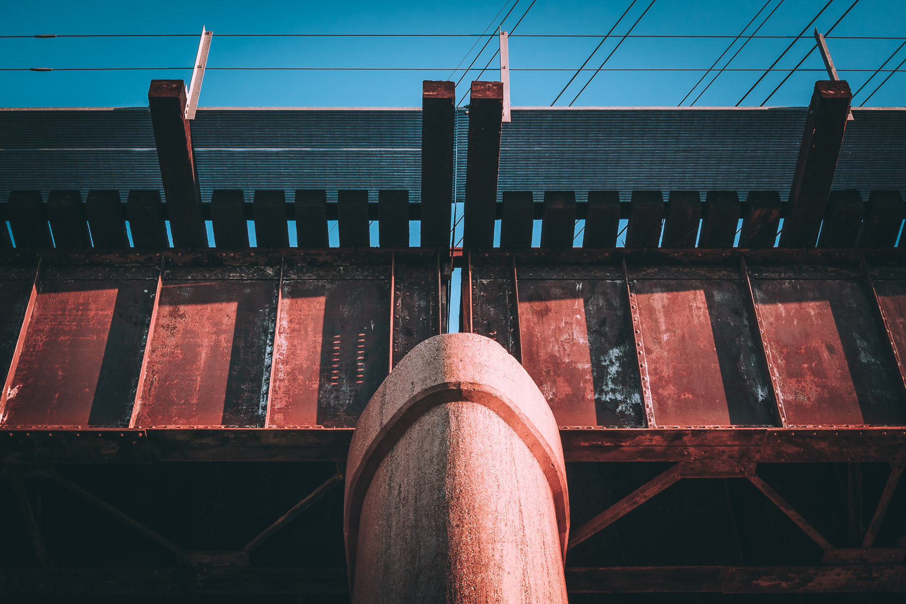 Detail of a railroad bridge spotted near Downtown Dallas, Texas.