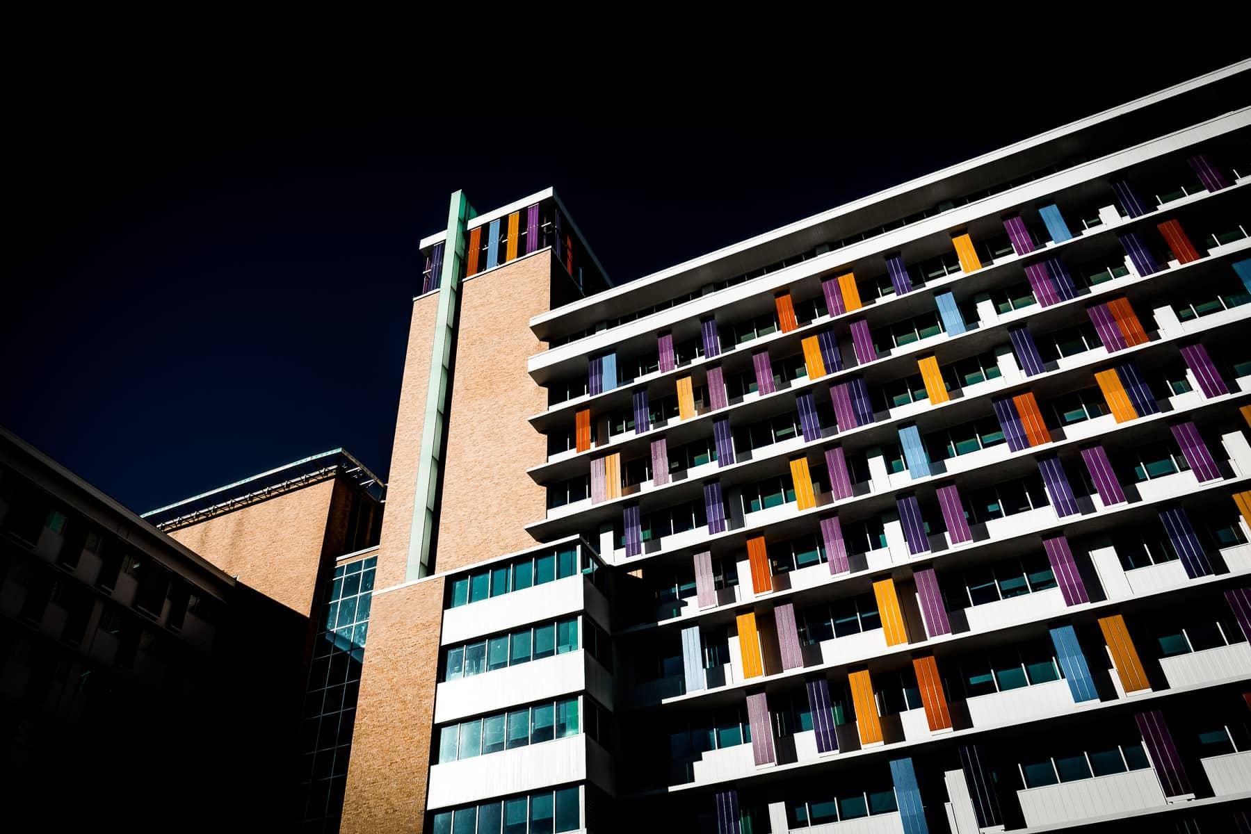 The multi-colored facade of theChildren's Hospital of San Antonio, Texas.