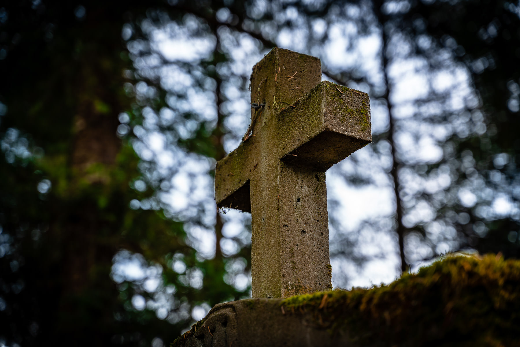A cross on a monument at the Shrine of Saint Thérèse near Juneau, Alaska.