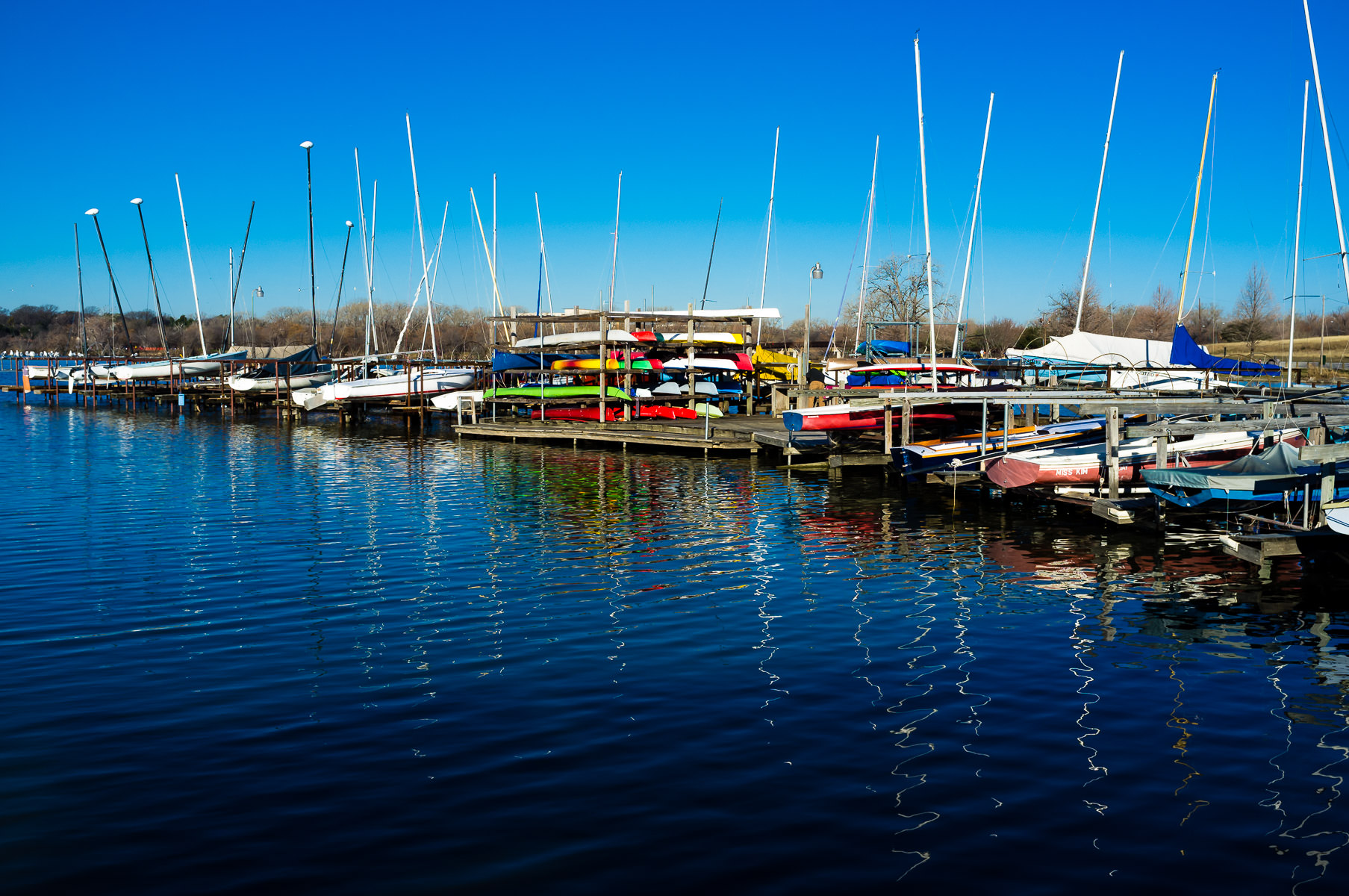 Boats docked and stored at Dallas' White Rock Lake.