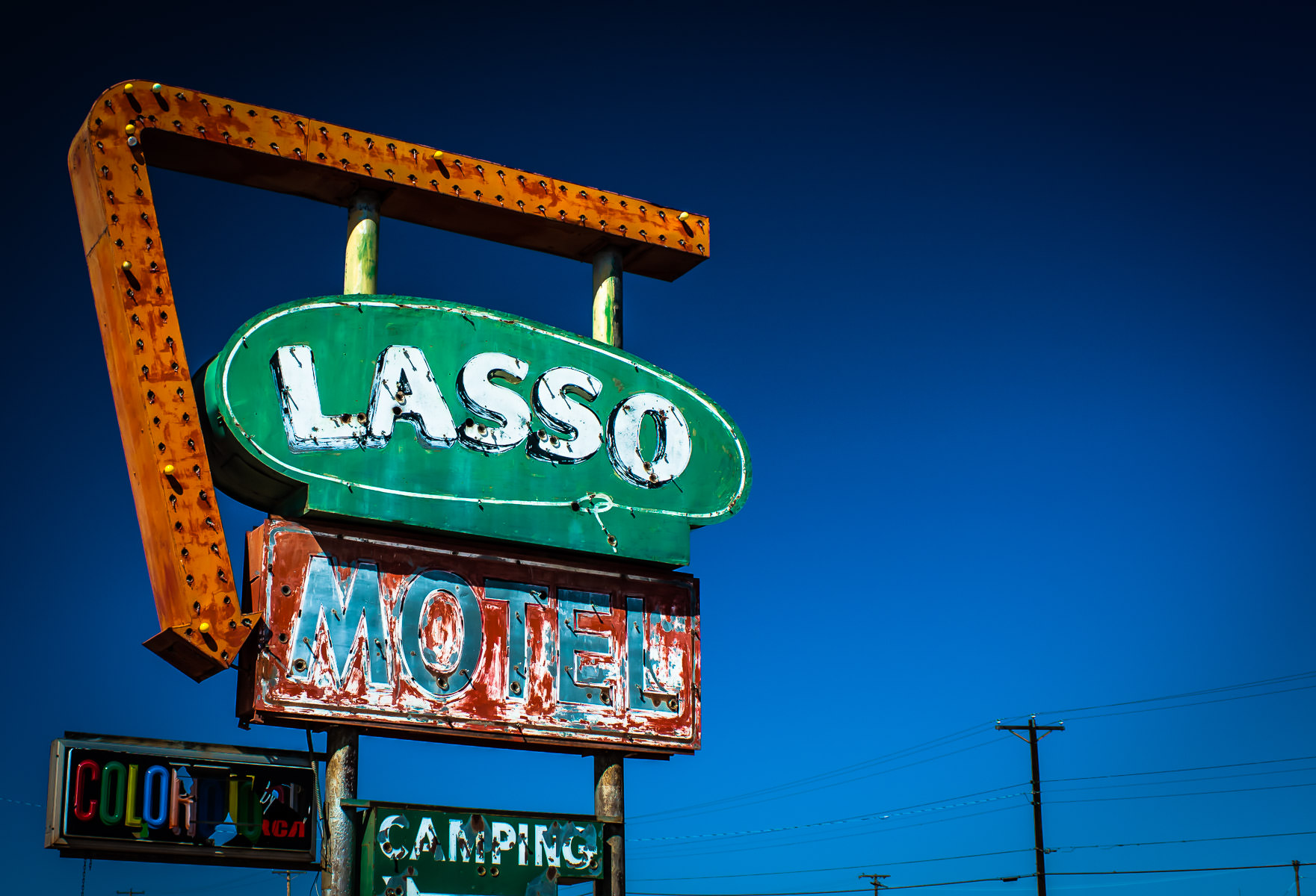 The dilapidated Lasso Motel sign in Tucumcari, New Mexico.