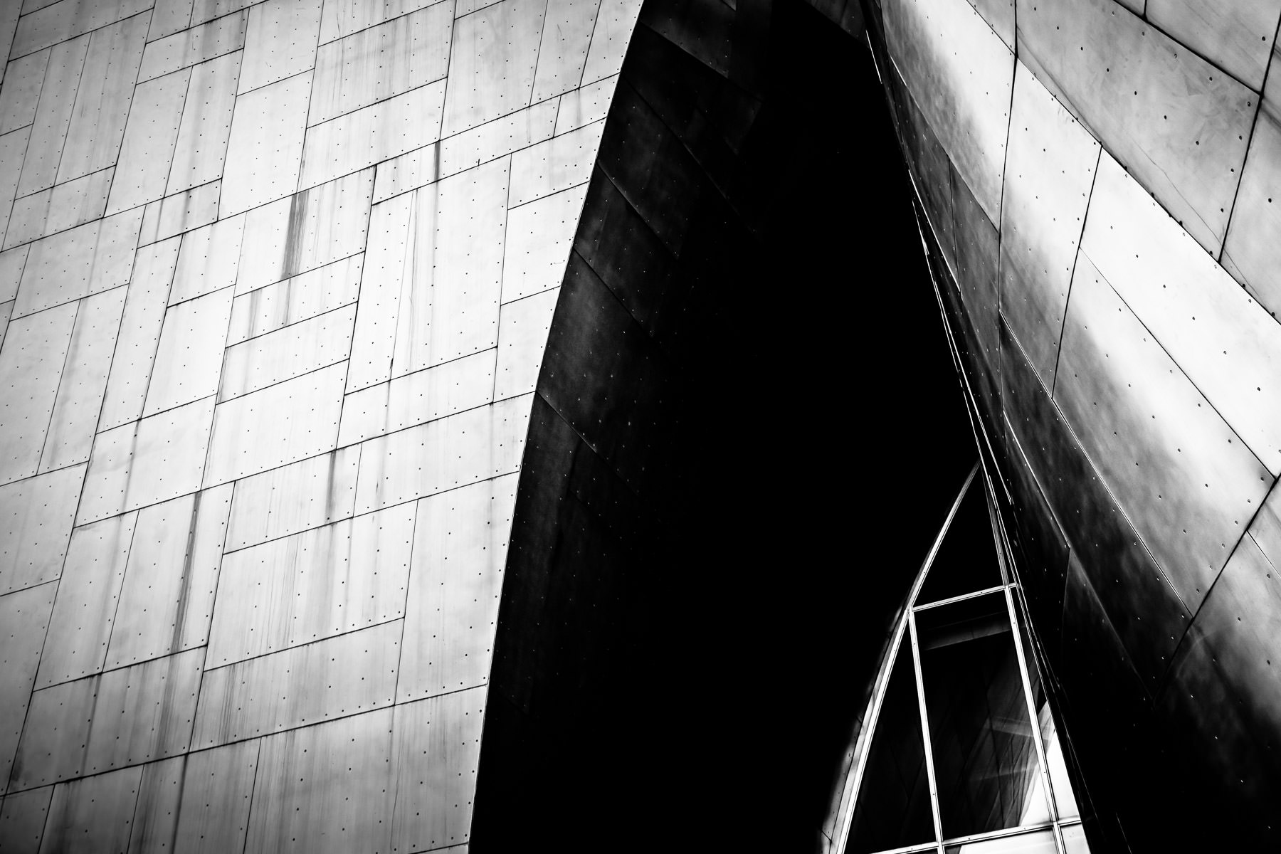 Abstract architectural detail of Seattle's Frank Gehry-designed Museum of Pop Culture.