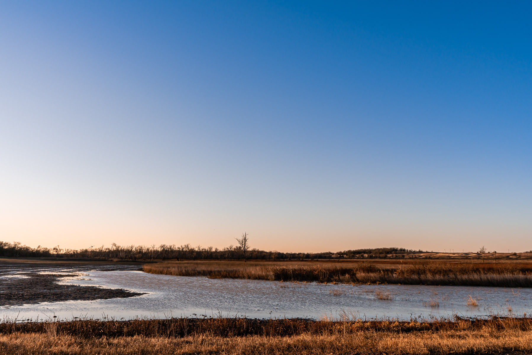 The sun rises on North Texas' Hagerman National Wildlife Refuge.