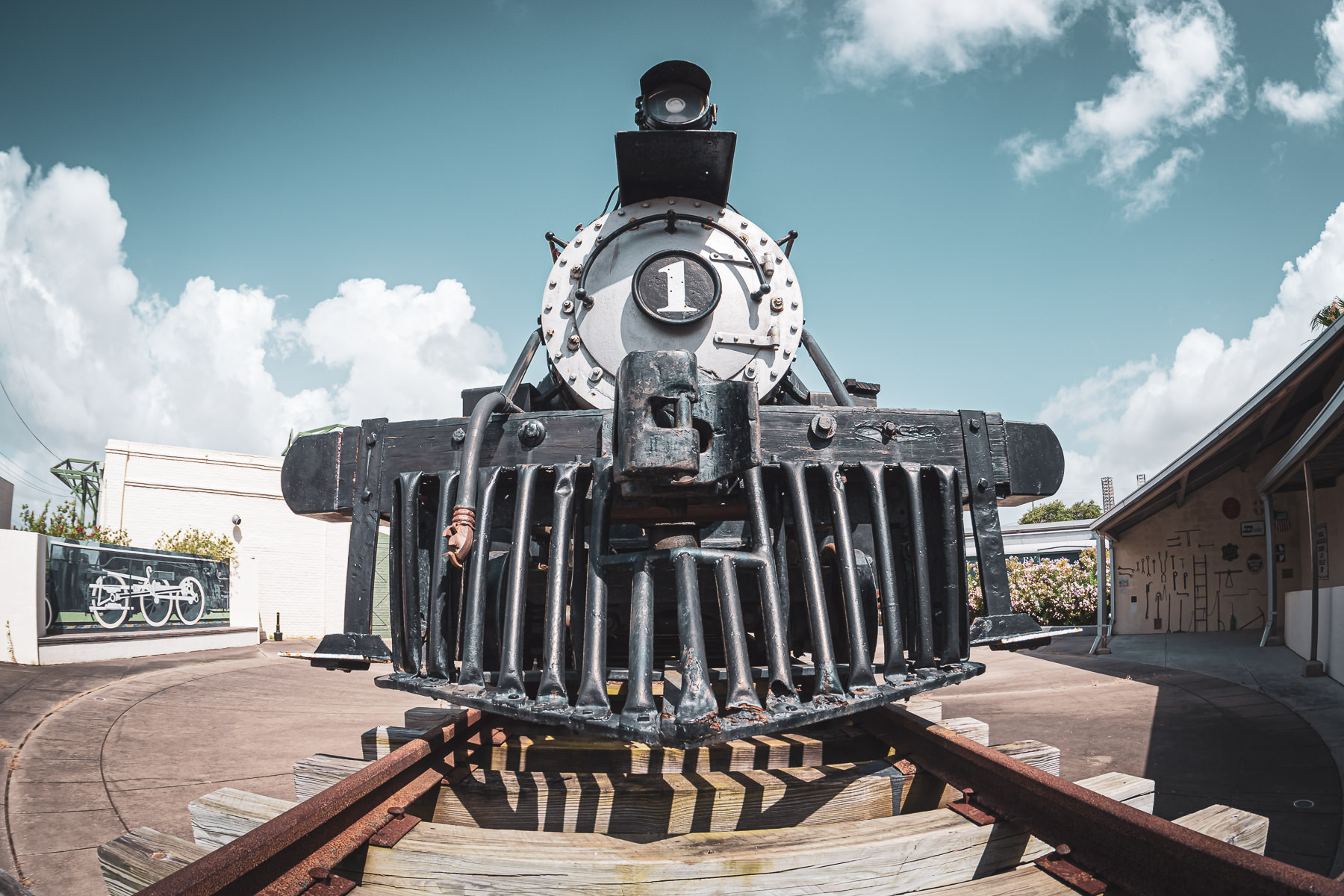 The Waco, Beaumont, Trinity, & Sabine Railway #1, a 2-6-2 Prairie Class Locomotive built in 1920, on display at the Galveston Railroad Museum.