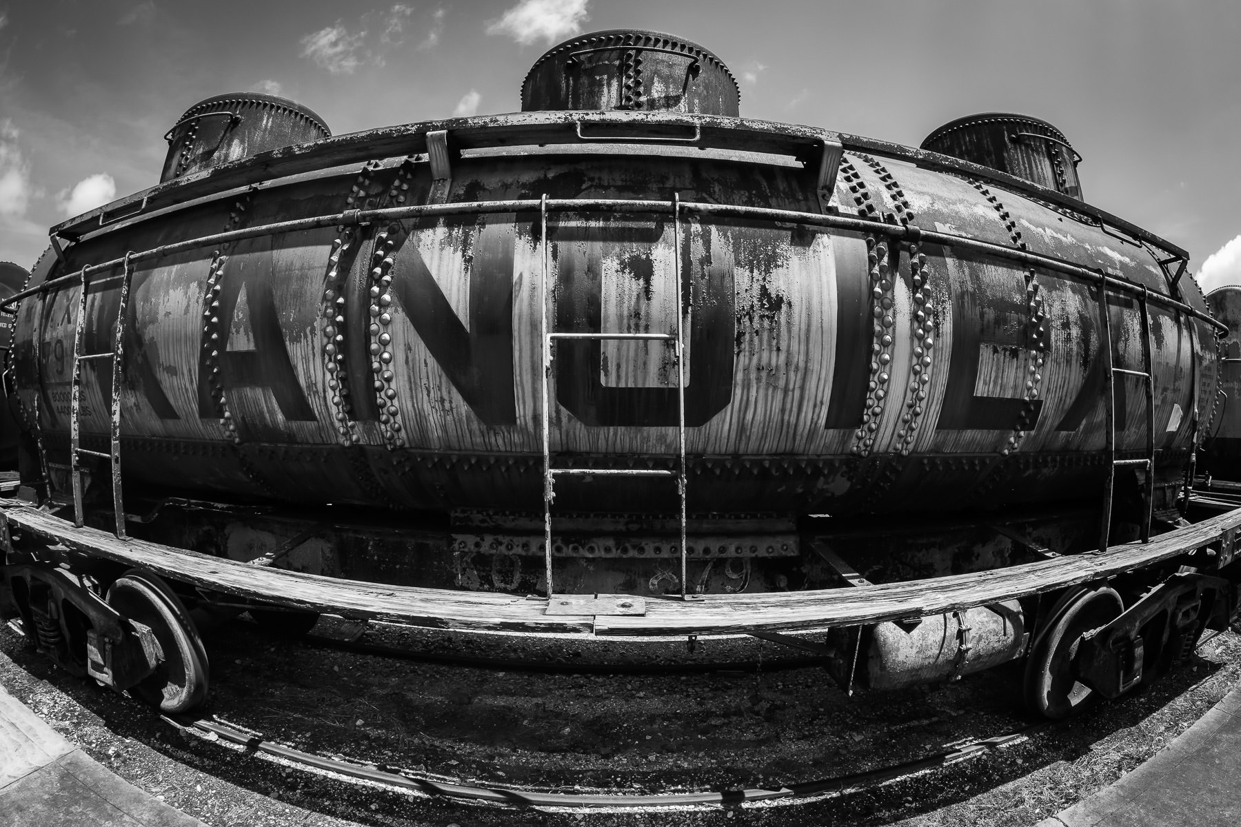 A tank car from the defunct Kanotex Refining Company, now on display at the Galveston Railroad Museum, Texas.