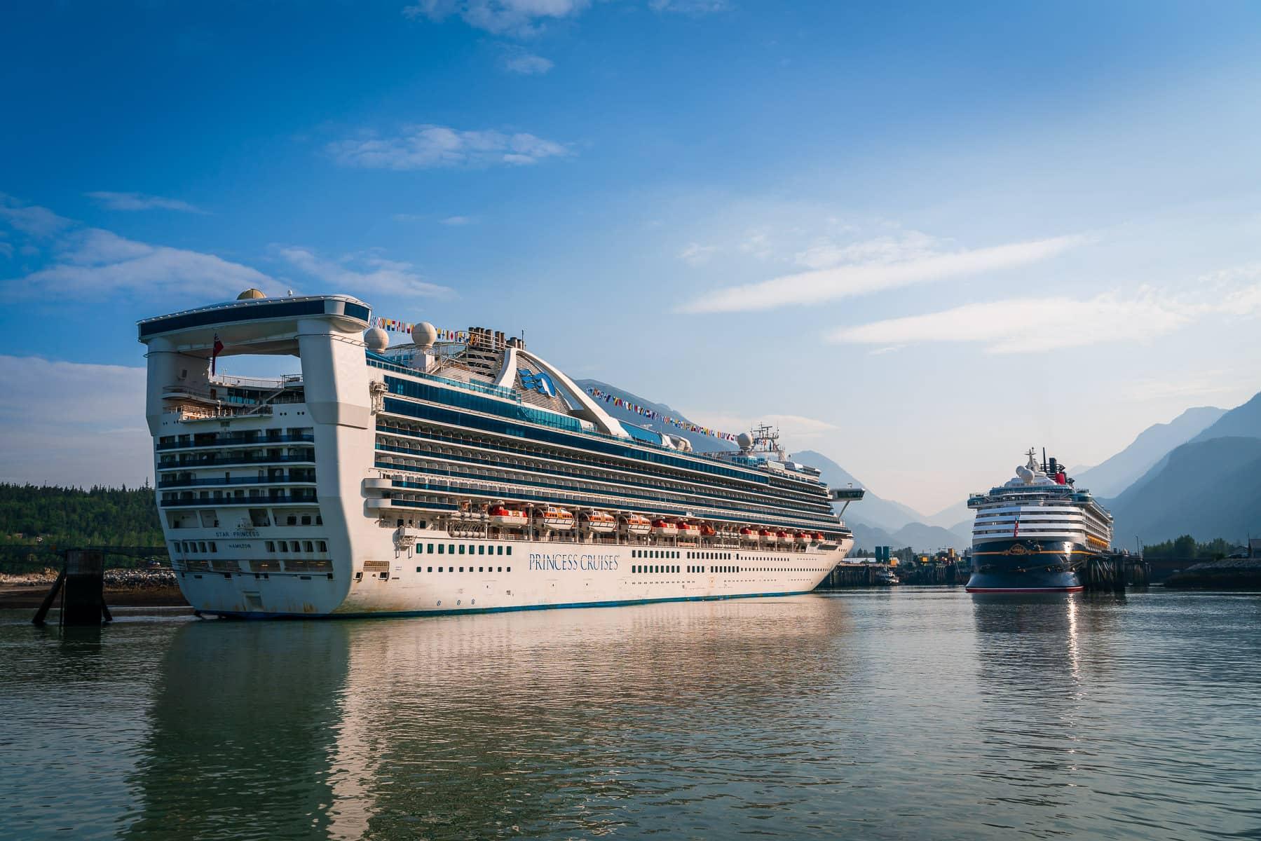 The cruise shipsStar PrincessandDisney Wonder, docked in Skagway, Alaska.