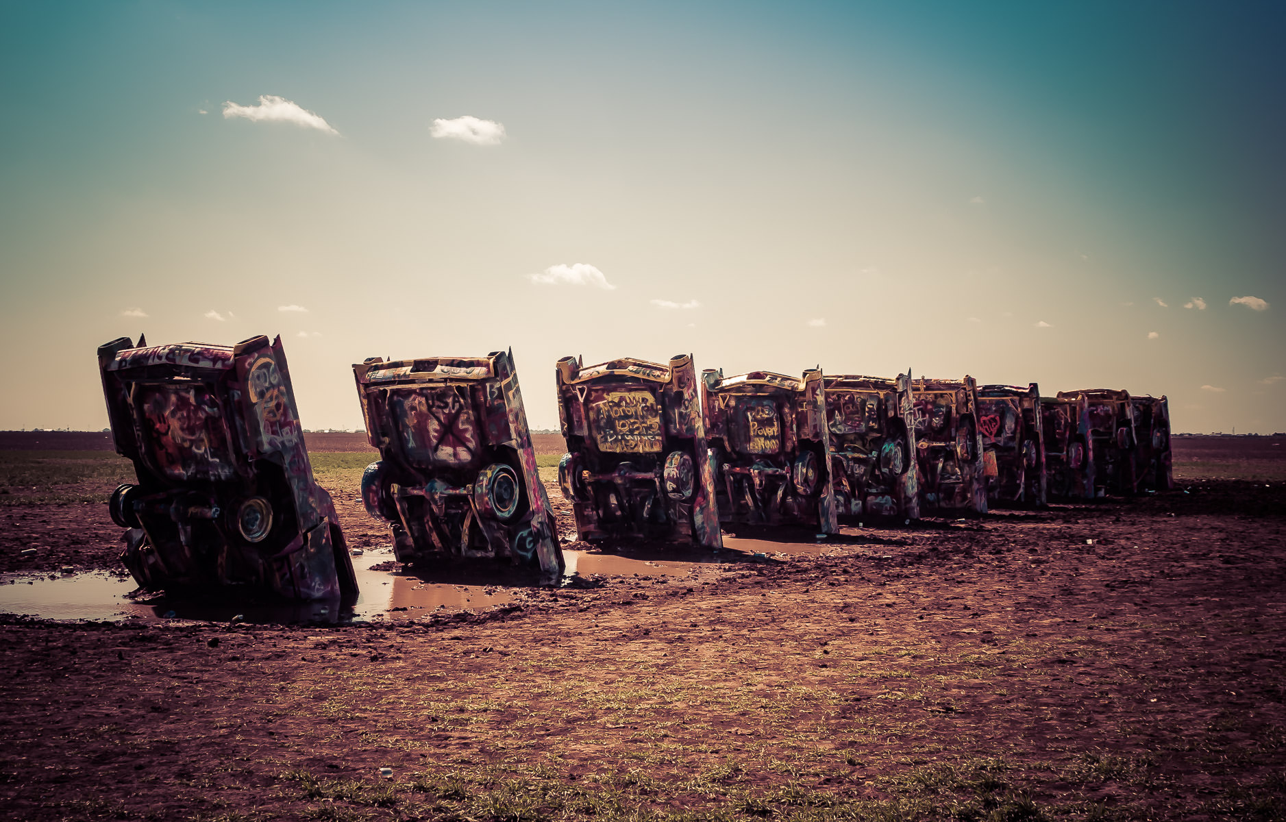 Eccentric Stanley Marsh 3's well-known Cadillac Ranch, near Amarillo, Texas.