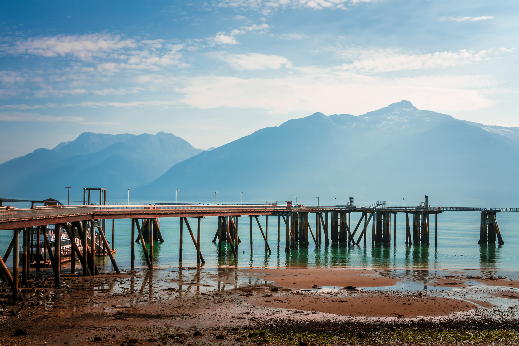 The structure for the floating pier at Haines, Alaska, is designed to account for tidal variations of 20 or more feet.