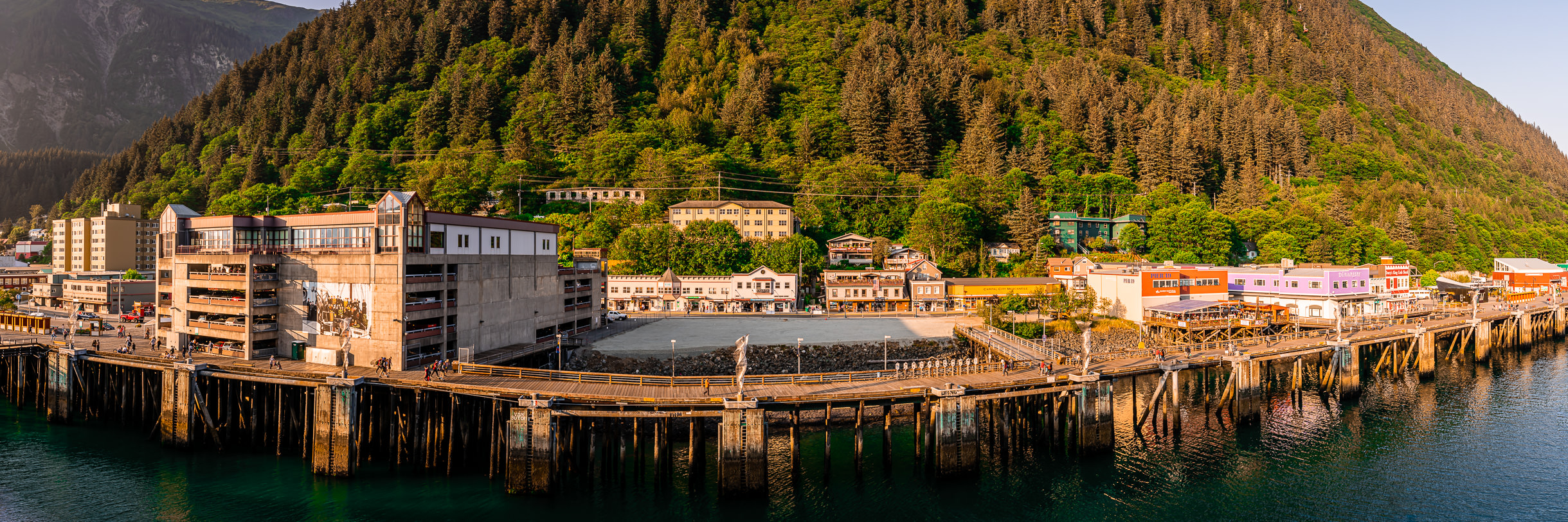 A panoramic view of Juneau, Alaska's waterfront.