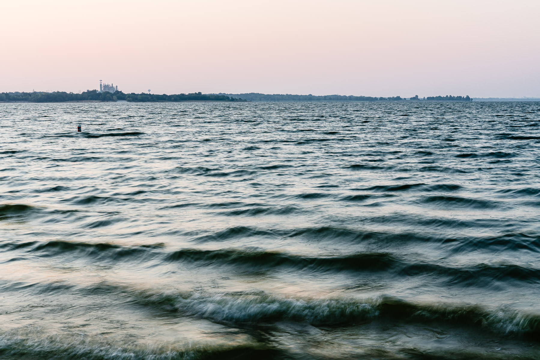 The Garland City Power Plant sits on the far shore of Texas' Lake Lavon.