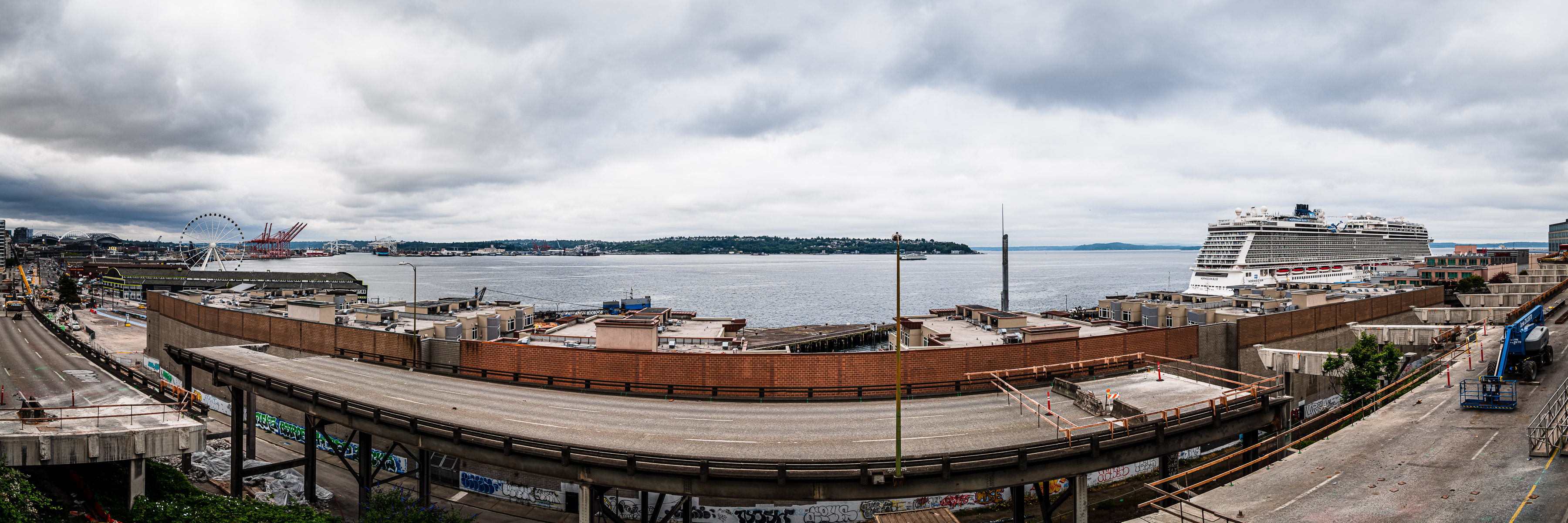 Seattle's Alaskan Way Viaduct in the midst of demolition in the summer of 2019.