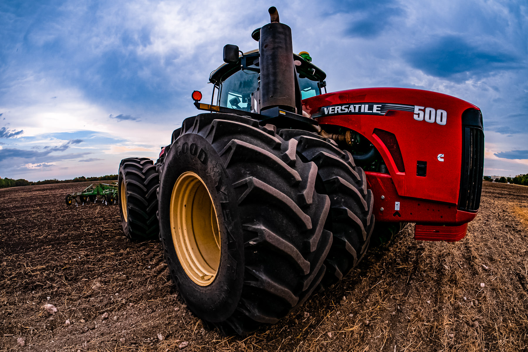 Detail of a Versatile tractor on a farm near McKinney, Texas.