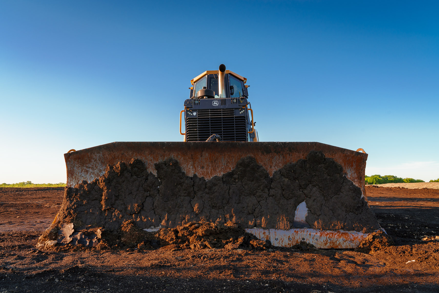 A bulldozer rests at a construction site near McKinney, Texas.