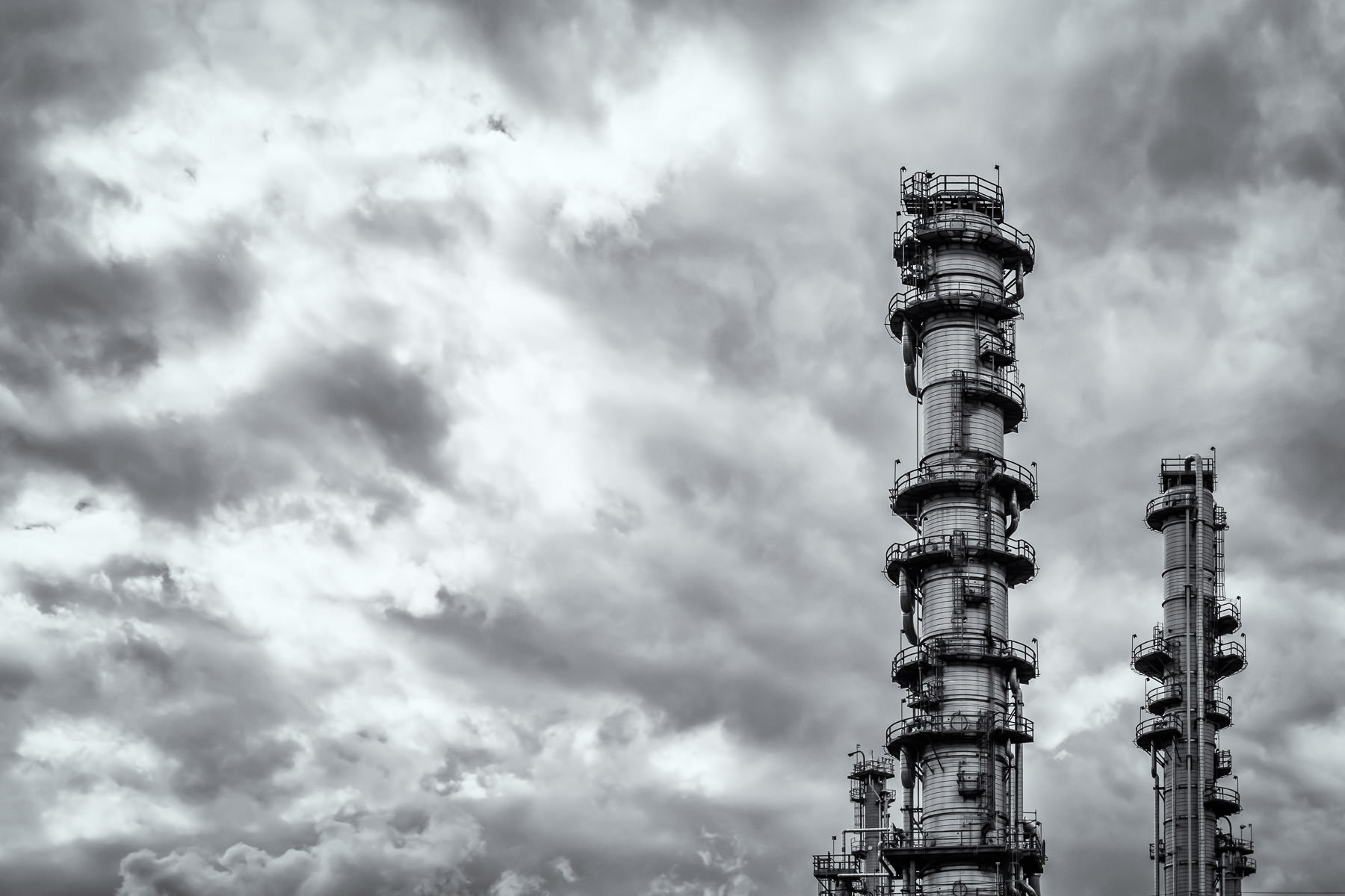 Towers at a chemical plant reach into the sky along the Houston Ship Channel, Texas.