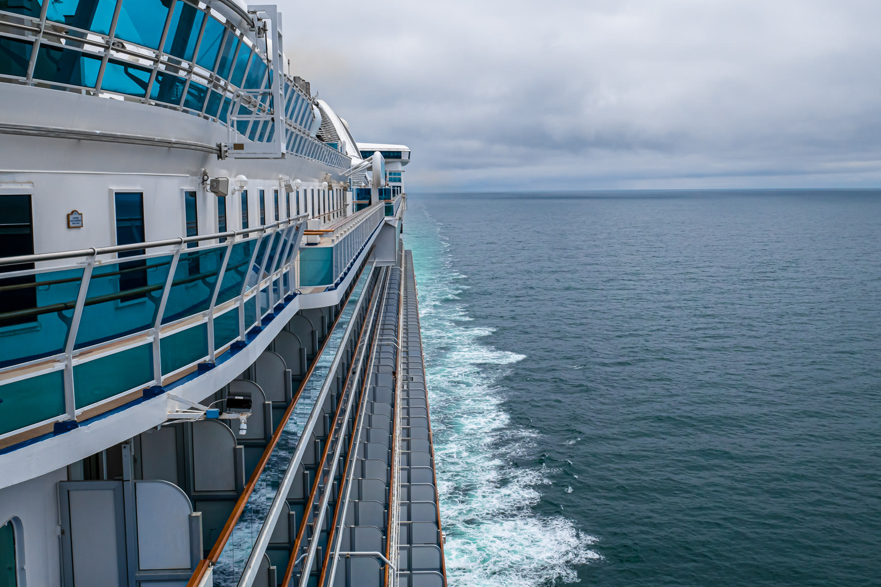 The cruise ship Star Princess sails from Seattle towards Alaska.