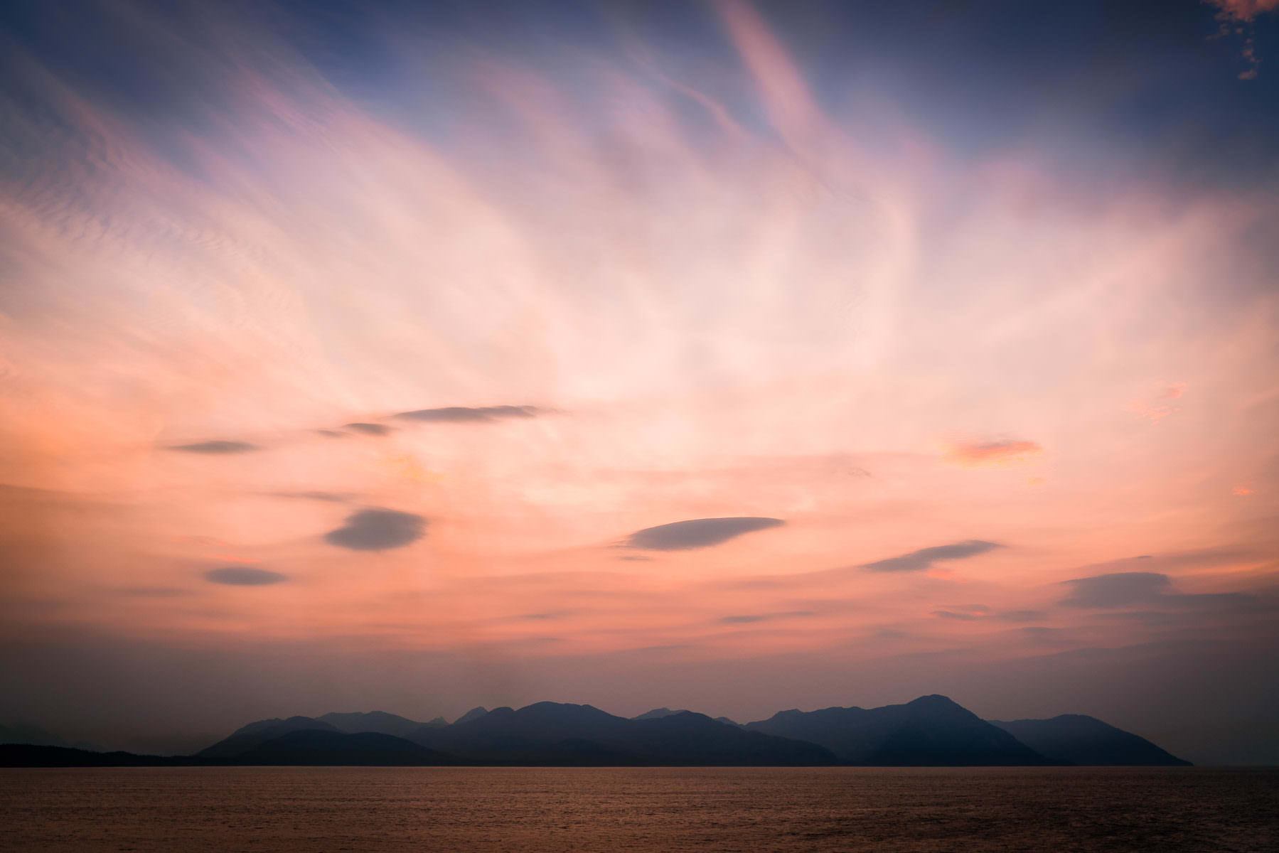 The last light of day on Alaska's Stephens Passage and Admiralty Island near Juneau.